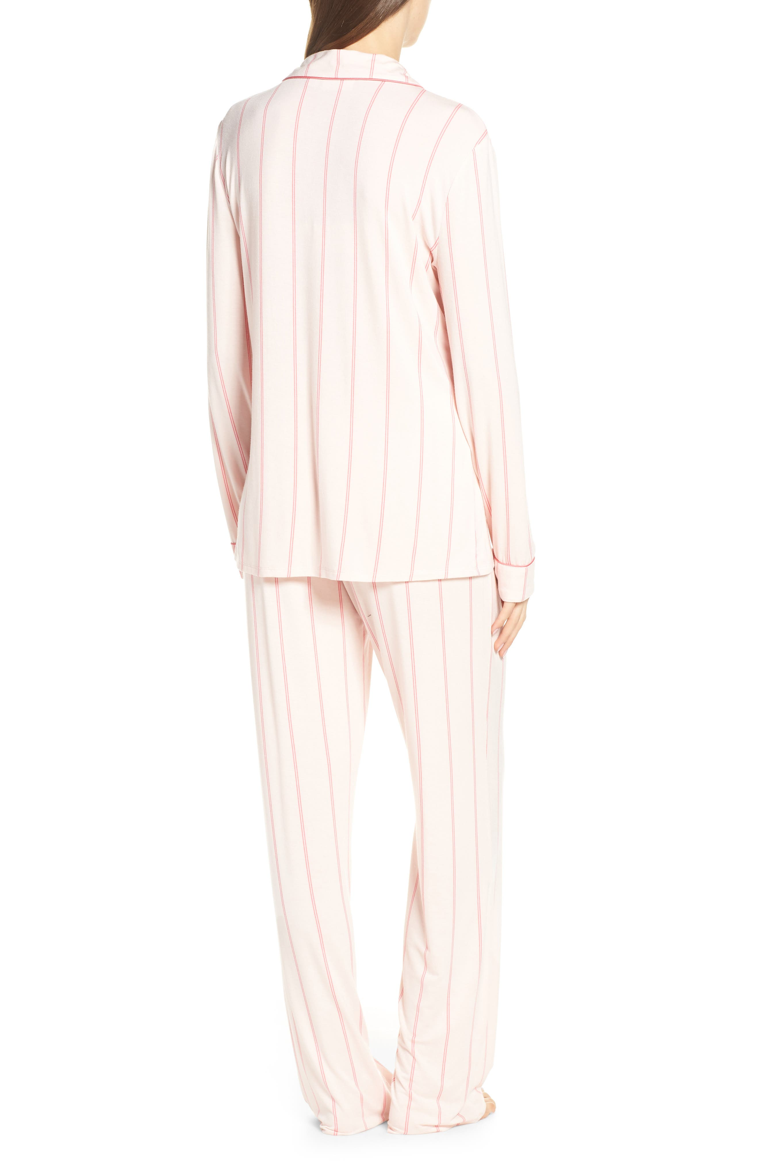 NORDSTROM LINGERIE, Moonlight Pajamas, Alternate thumbnail 2, color, PINK CRYSTAL MICRO STRIPE