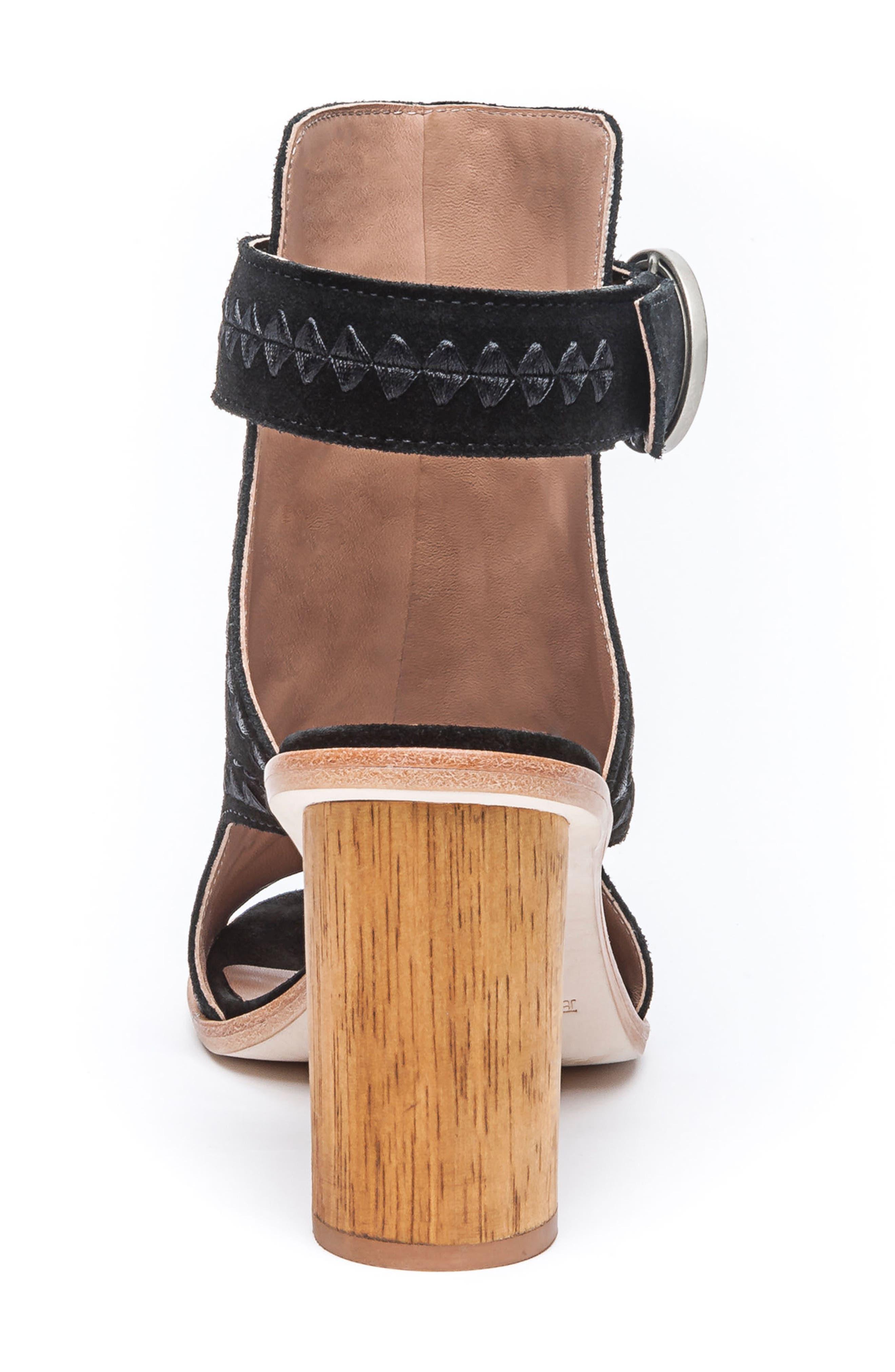 BERNARDO, Harper Embroidered Sandal, Alternate thumbnail 7, color, BLACK LEATHER