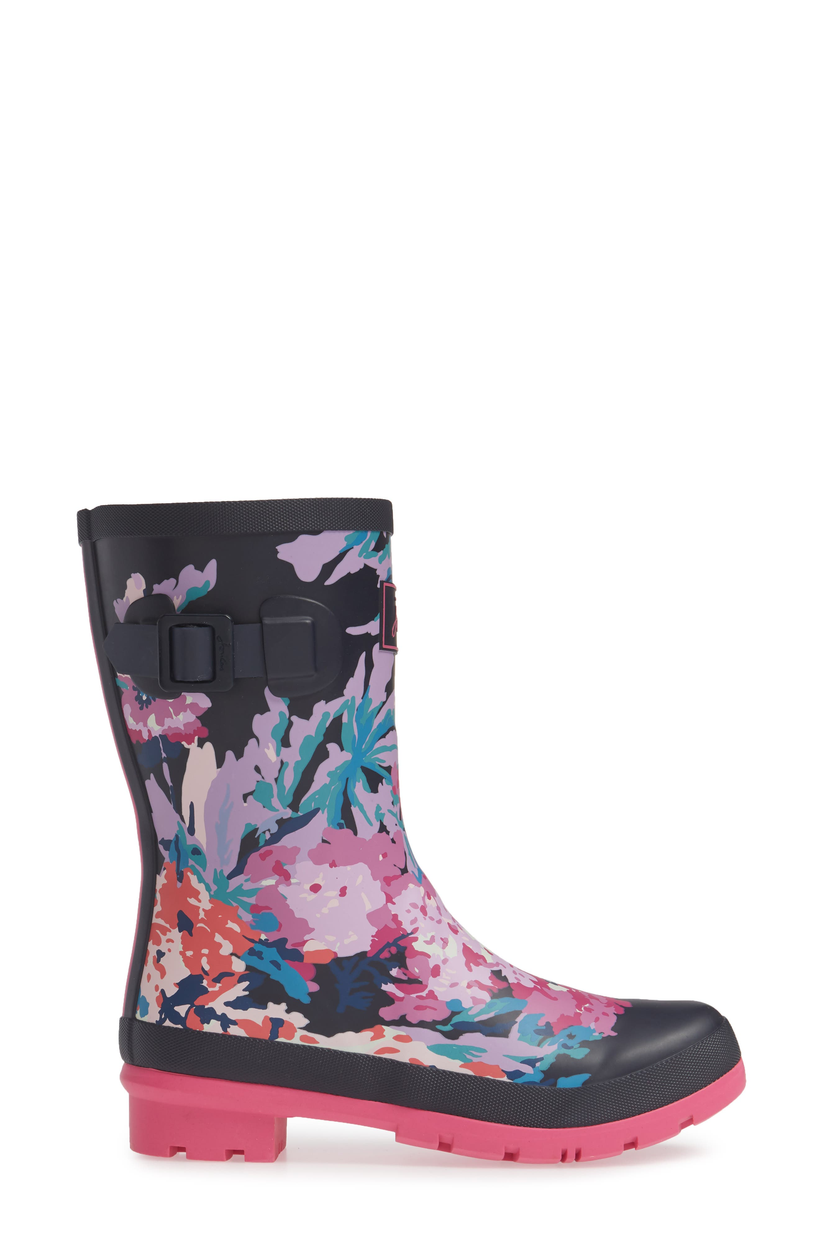 JOULES, 'Molly' Rain Boot, Alternate thumbnail 3, color, NAVY ALL OVER FLORAL