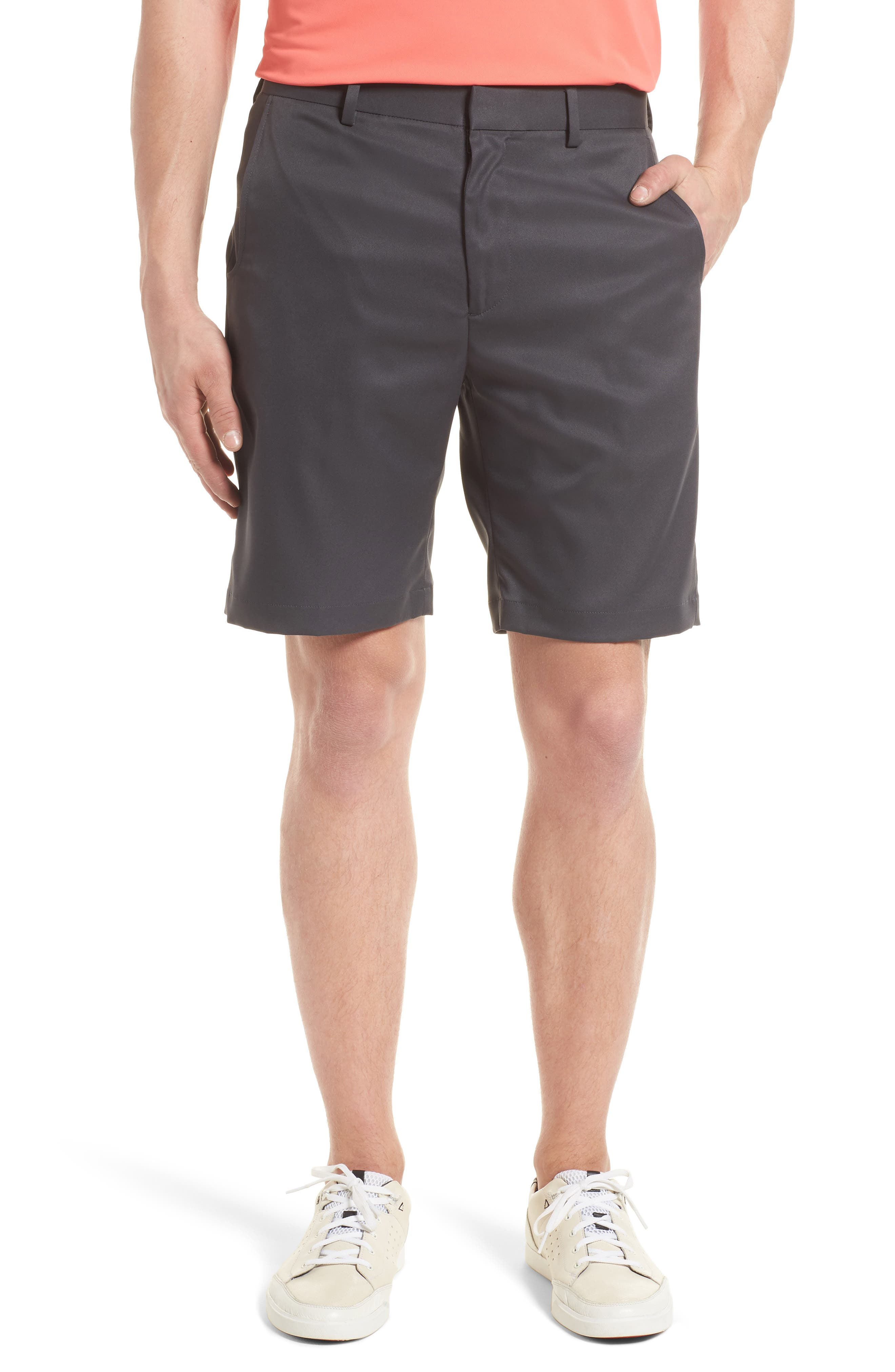 BOBBY JONES, Flat Front Tech Shorts, Main thumbnail 1, color, CHARCOAL