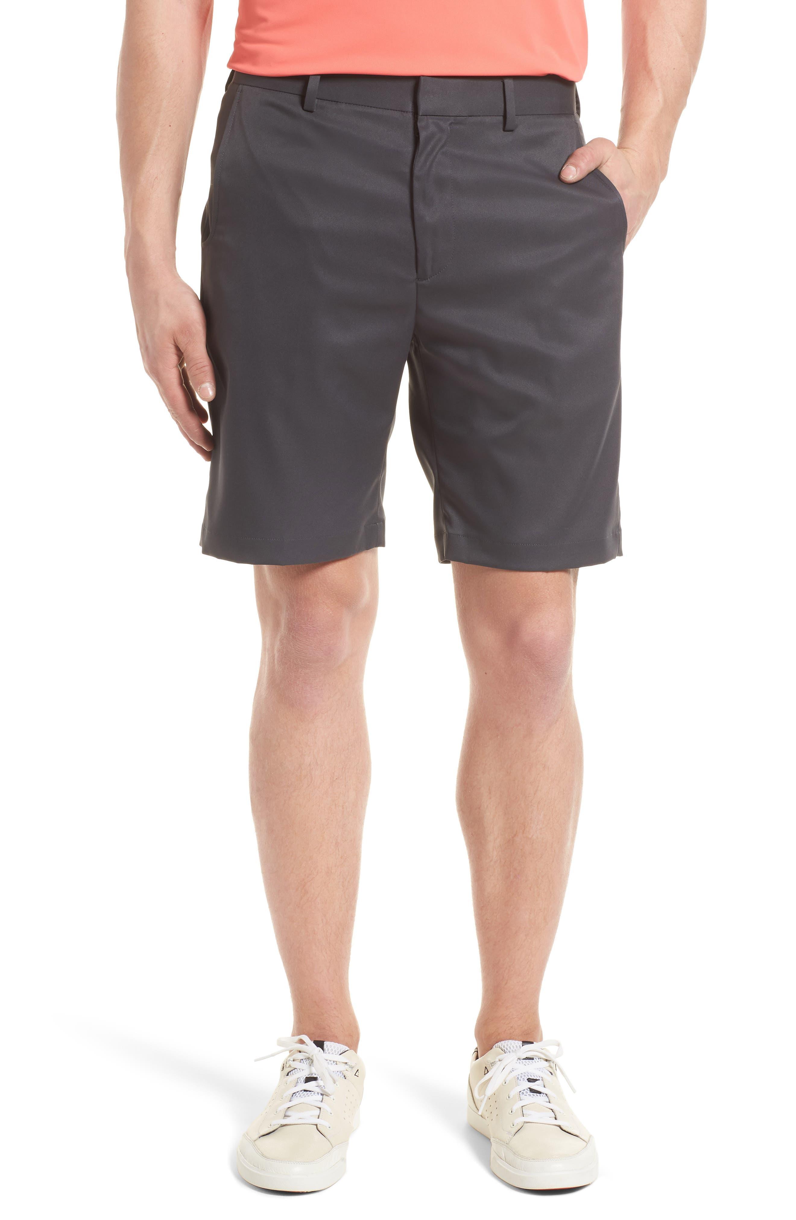 BOBBY JONES Flat Front Tech Shorts, Main, color, CHARCOAL