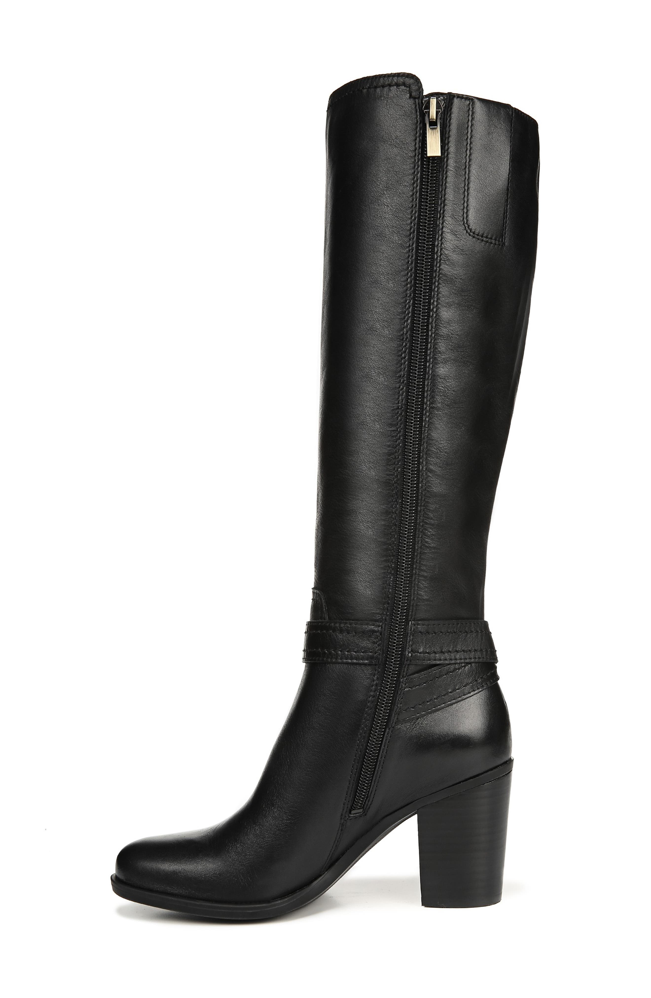 NATURALIZER, Kelsey Knee High Boot, Alternate thumbnail 9, color, BLACK LEATHER