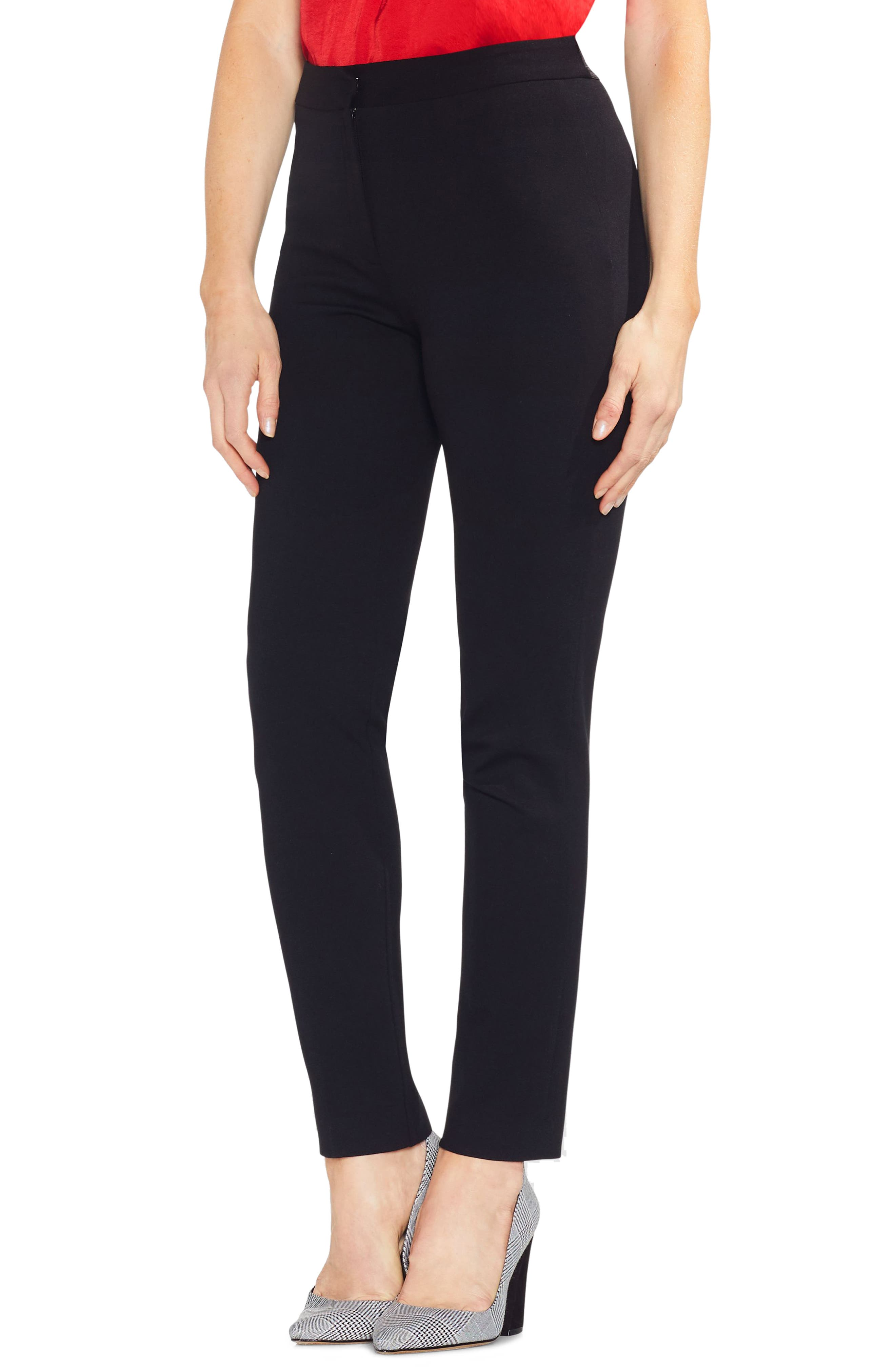 VINCE CAMUTO, Ponte Skinny Ankle Pants, Main thumbnail 1, color, 001