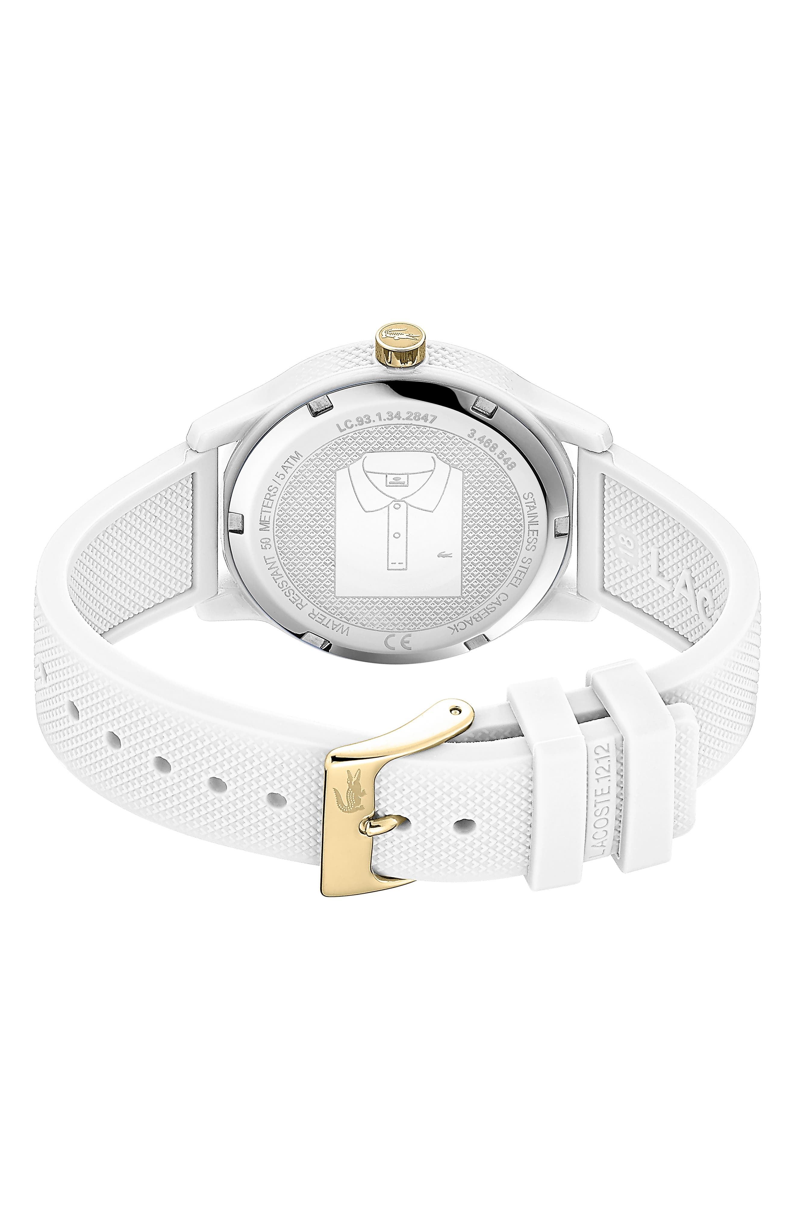LACOSTE, 12.12 Silicone Strap Watch, 36mm, Alternate thumbnail 2, color, WHITE