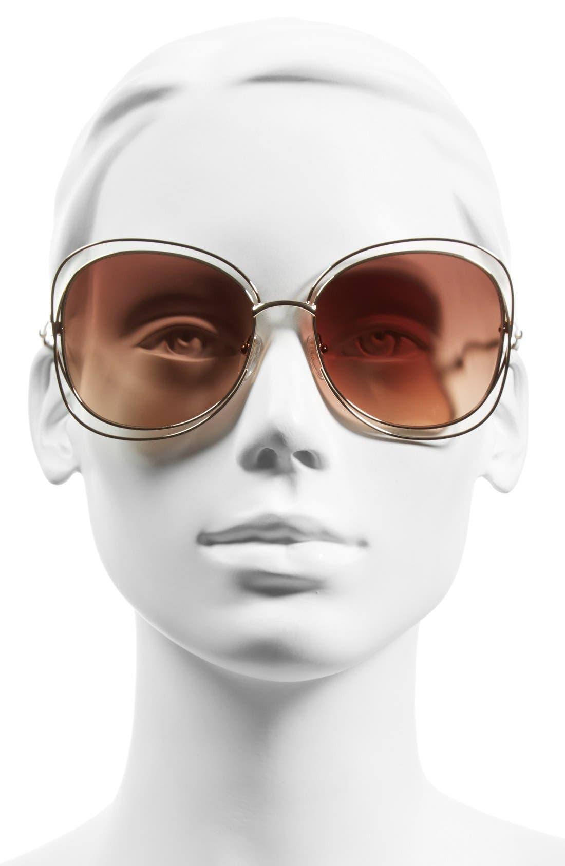 CHLOÉ, Carlina 60mm Gradient Les Sunglasses, Alternate thumbnail 2, color, ROSE GOLD/ BROWN