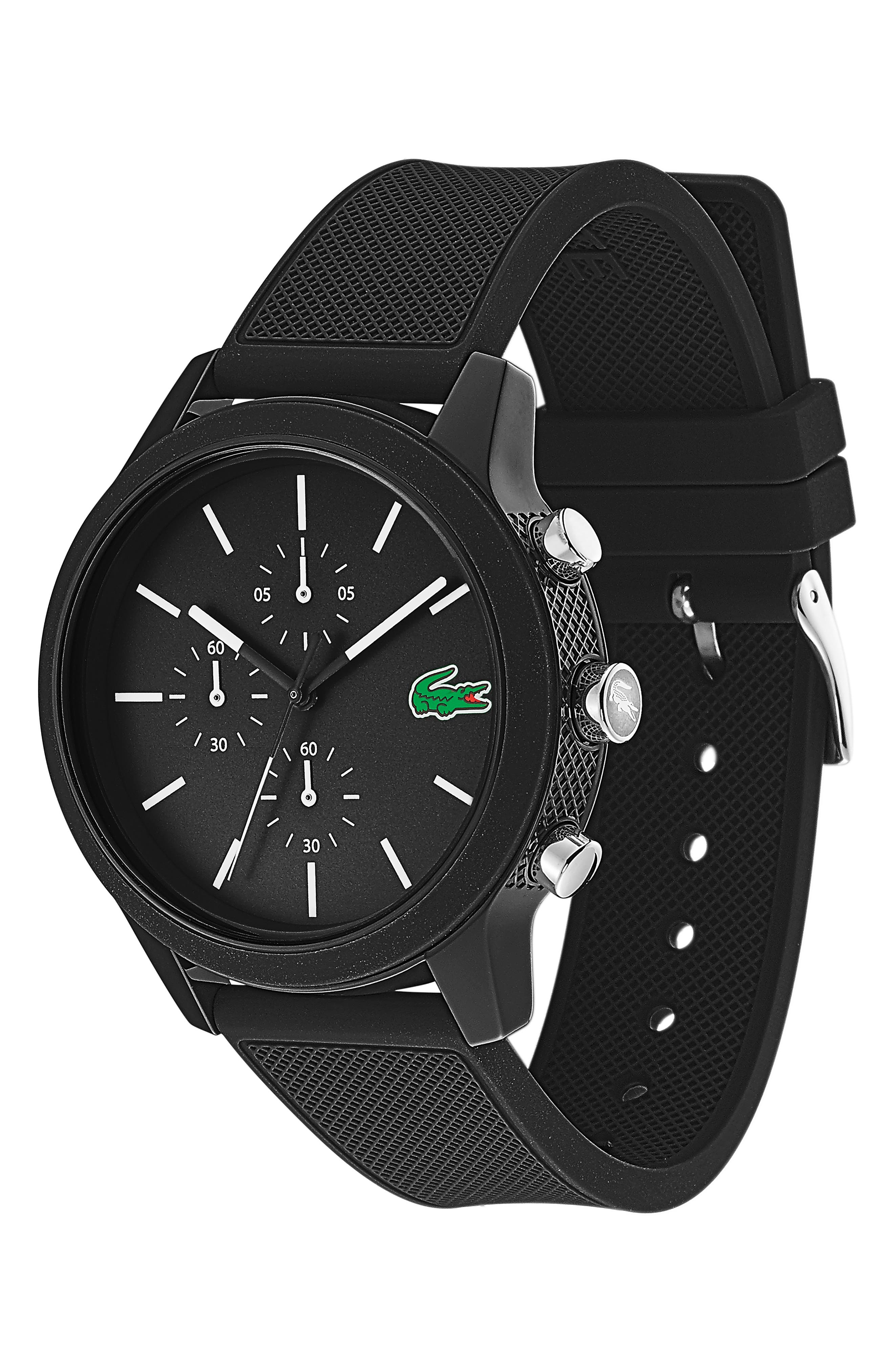 LACOSTE, 12.12 Chronograph Silicone Band Watch, 44mm, Alternate thumbnail 3, color, BLACK