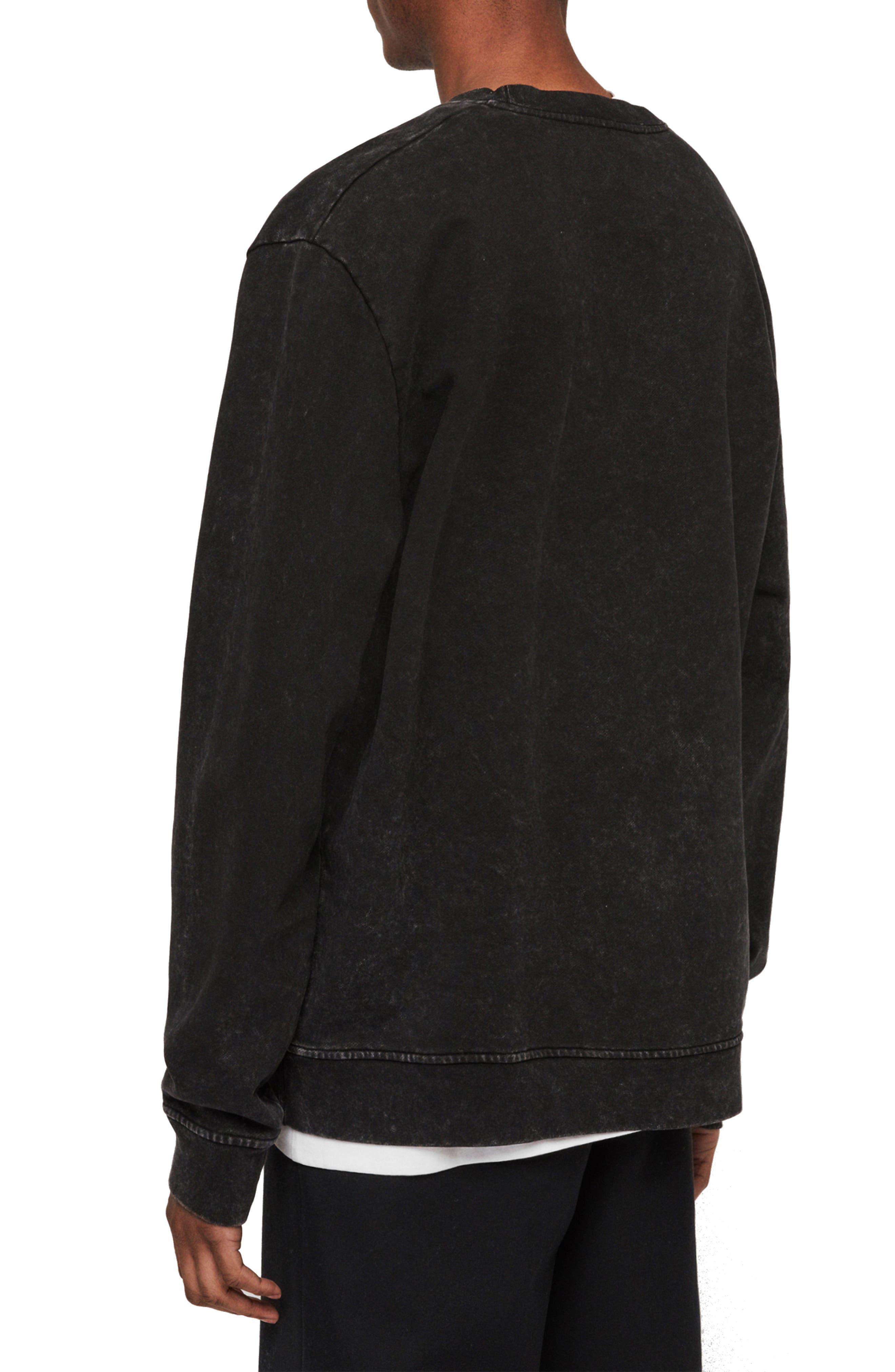 ALLSAINTS, Brackets Logo Graphic Fleece Sweatshirt, Alternate thumbnail 2, color, ACID WASHED BLACK