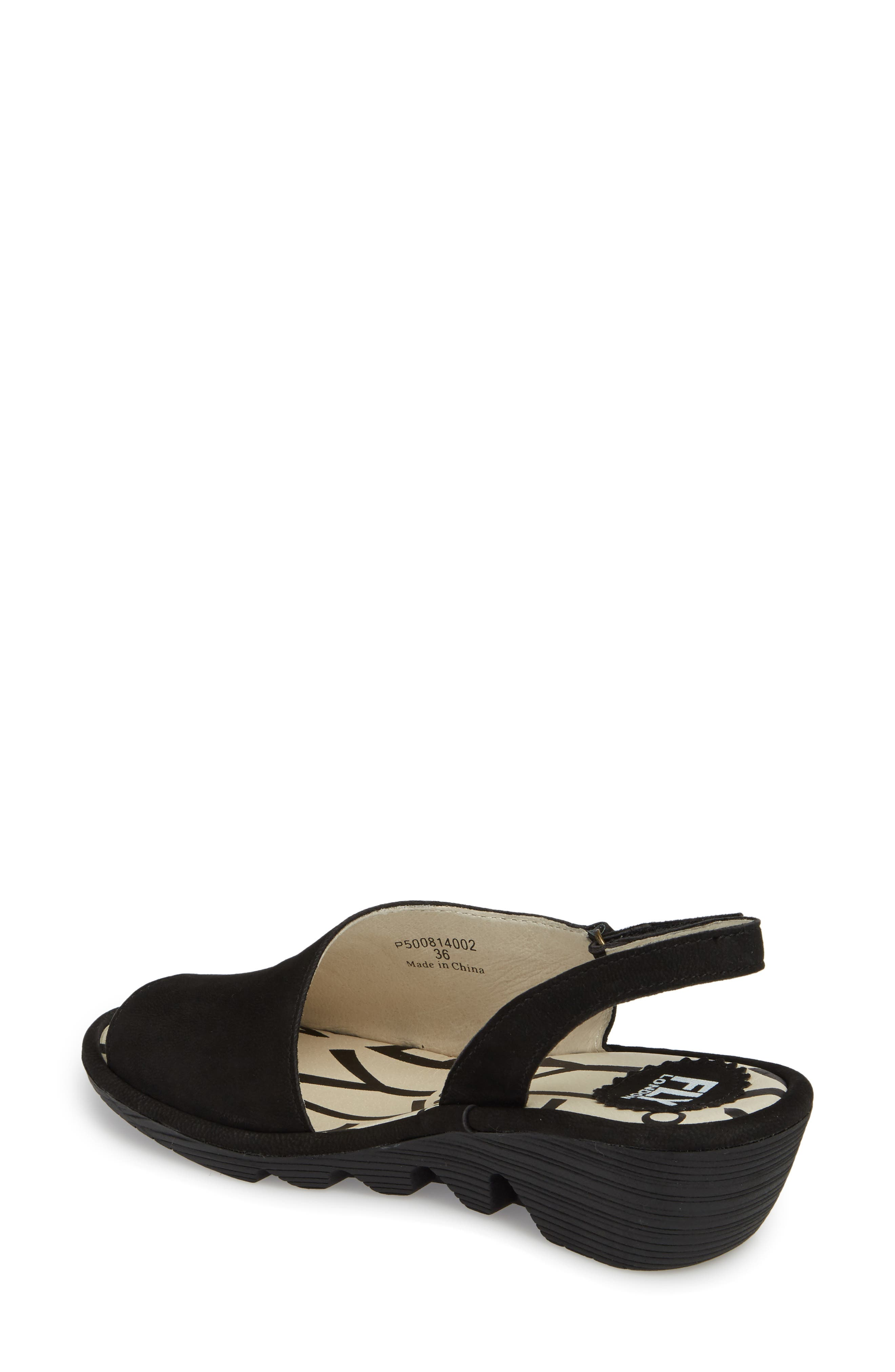 FLY LONDON, Palp Wedge Sandal, Alternate thumbnail 2, color, BLACK CUPIDO LEATHER