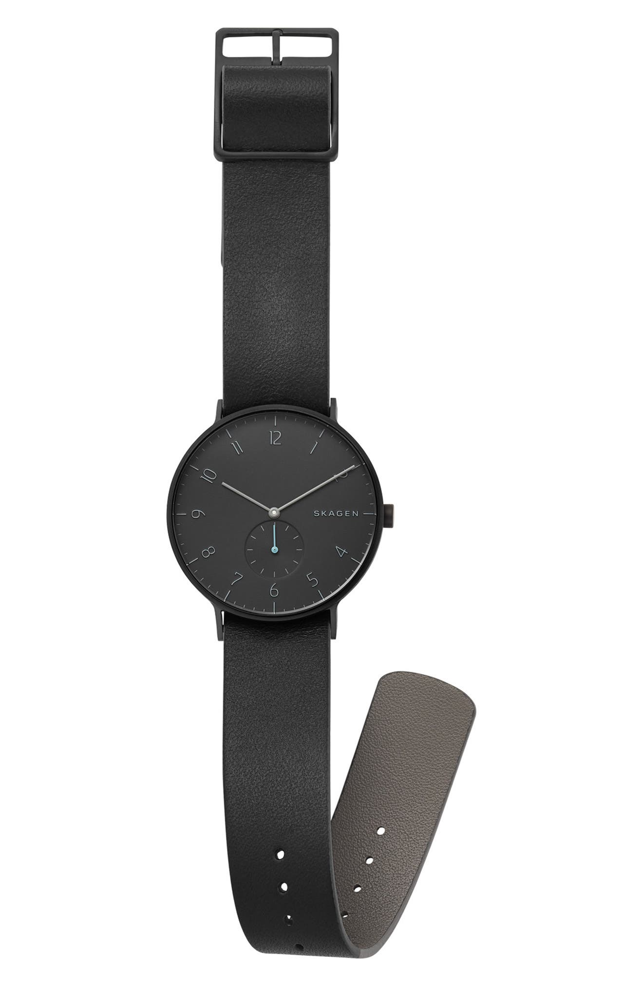 SKAGEN, Aaren Reversible Leather Strap Watch, 40mm, Alternate thumbnail 3, color, 001