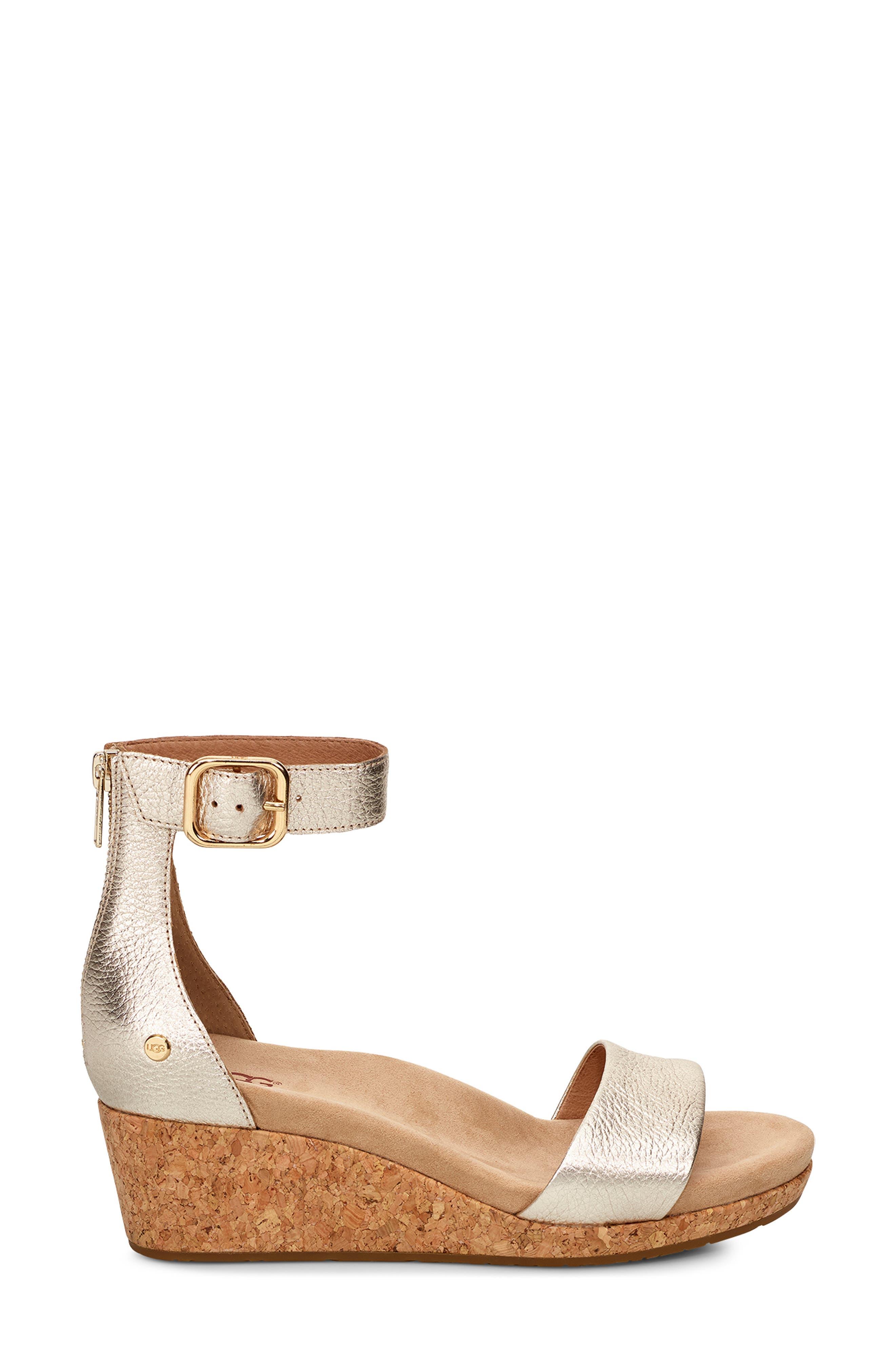 UGG<SUP>®</SUP>, Zoe II Metallic Wedge Sandal, Alternate thumbnail 3, color, GOLD LEATHER
