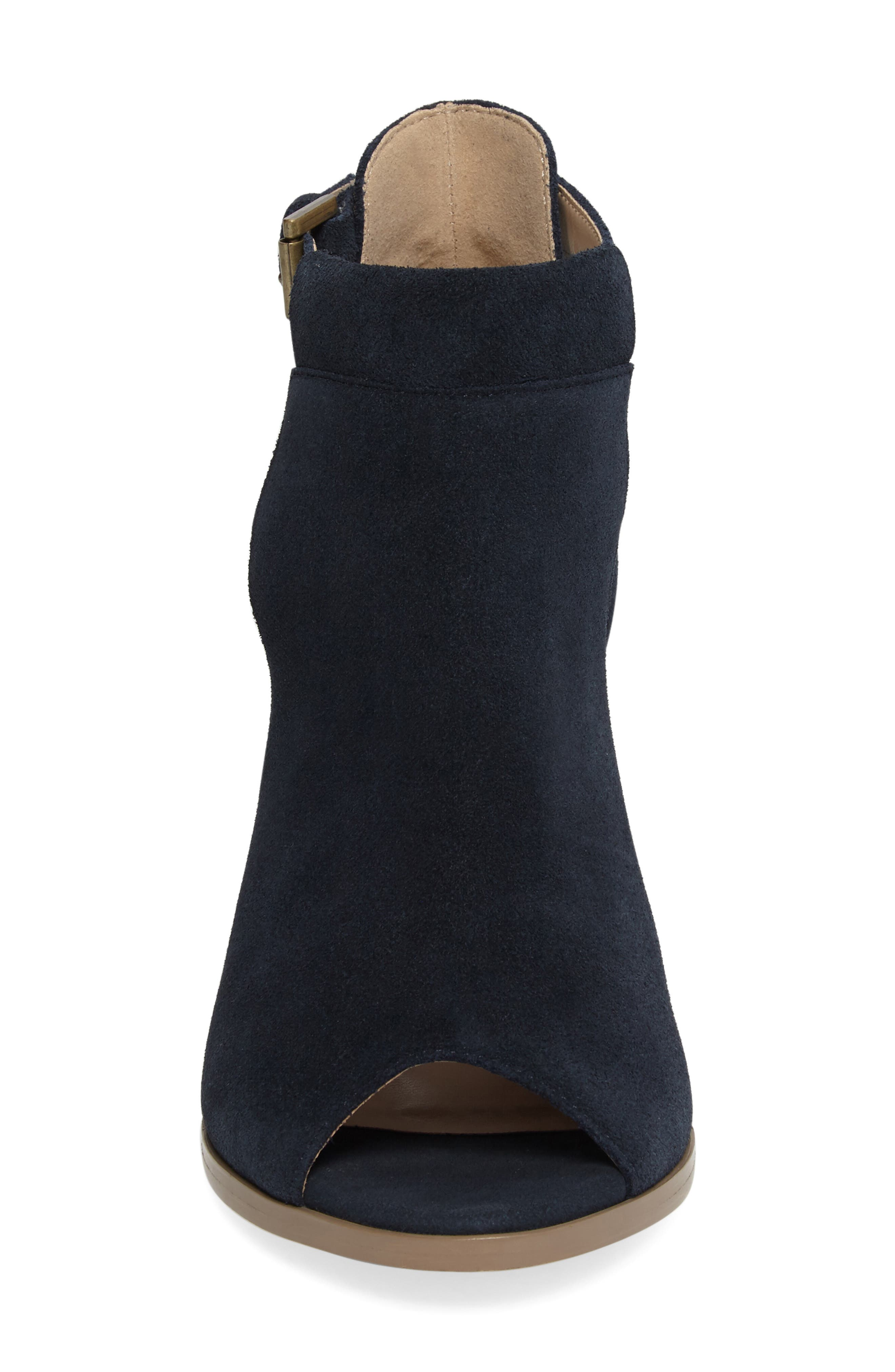 SOLE SOCIETY, 'Ferris' Open Toe Bootie, Alternate thumbnail 4, color, INK SUEDE