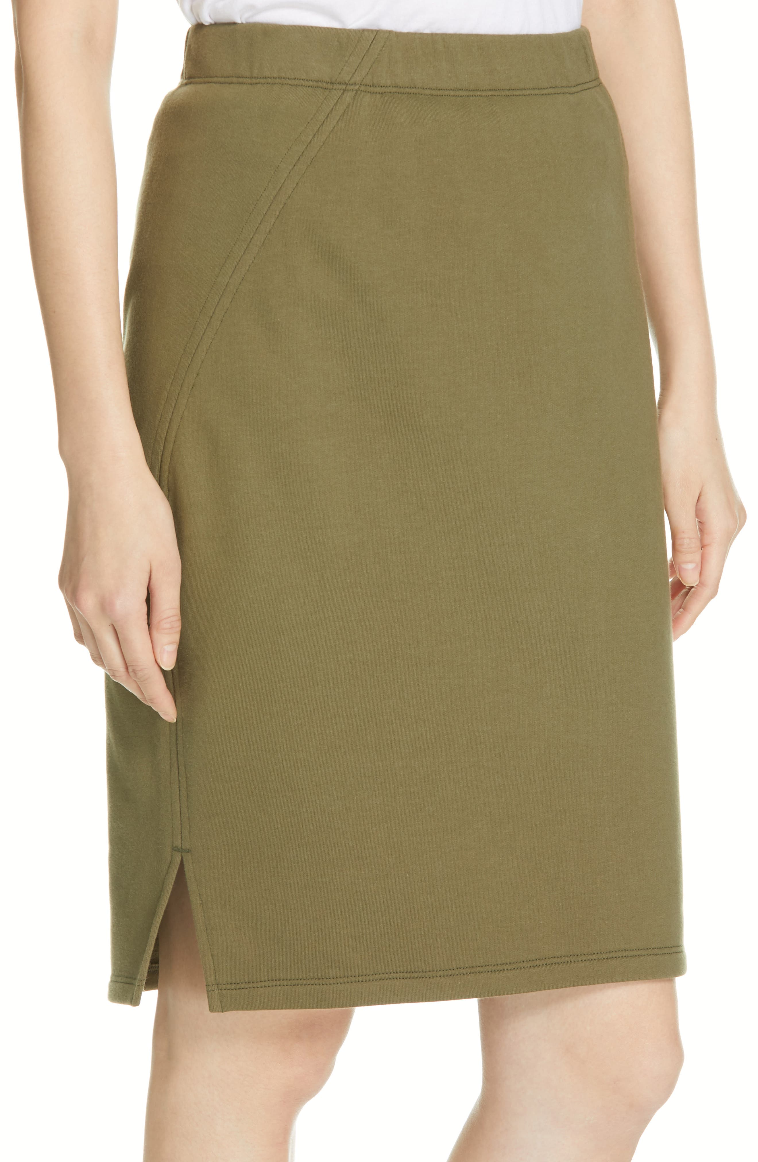 EILEEN FISHER, Organic Cotton Pencil Skirt, Alternate thumbnail 4, color, OLIVE