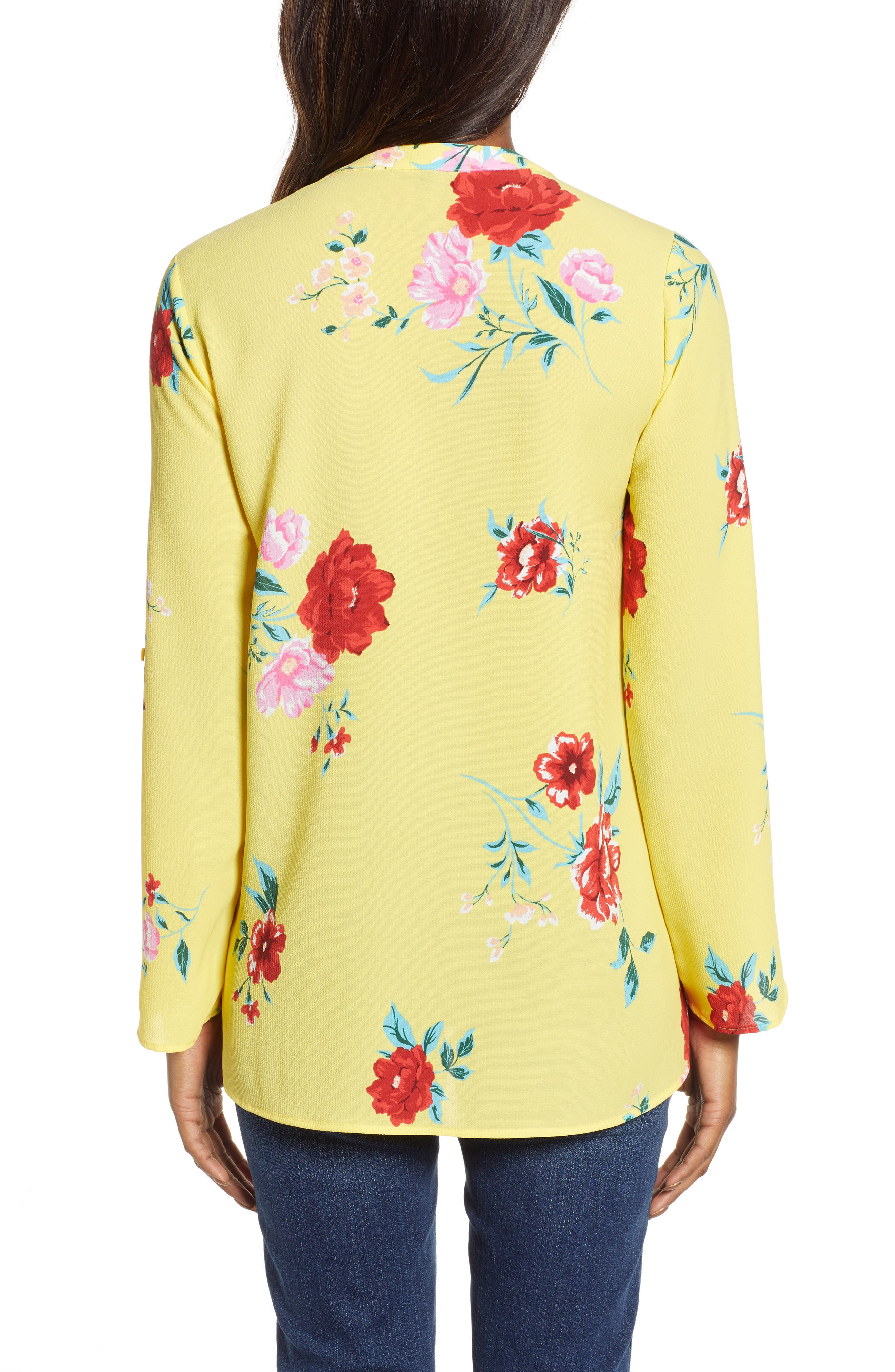 GIBSON, x International Women's Day Erin Cross Front Tunic Blouse, Alternate thumbnail 2, color, VIRGINIA BLOOM