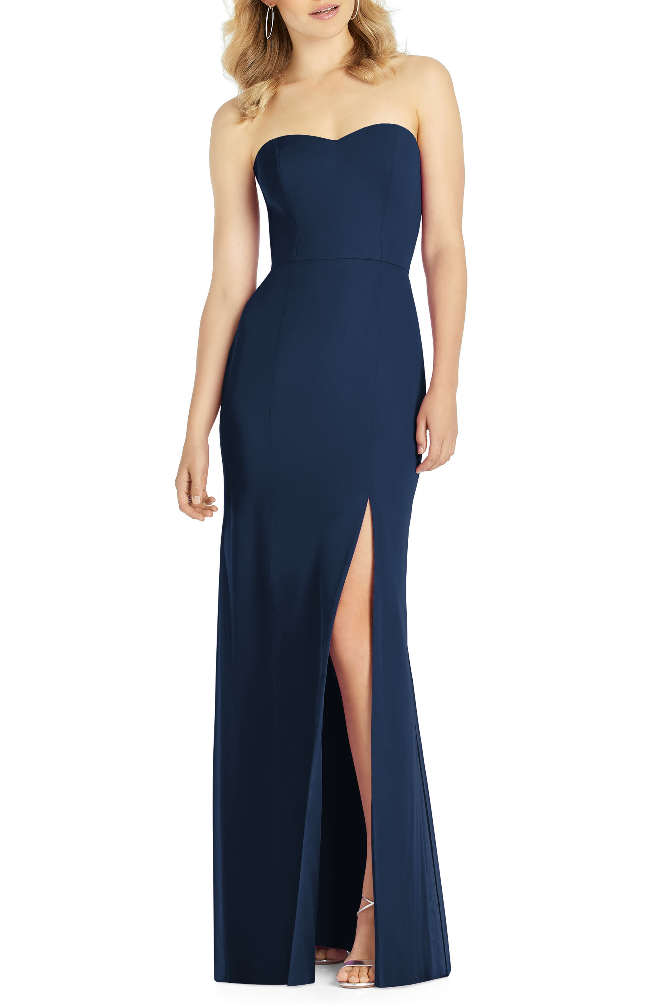 After Six Strapless Chiffon Trumpet Gown, Blue