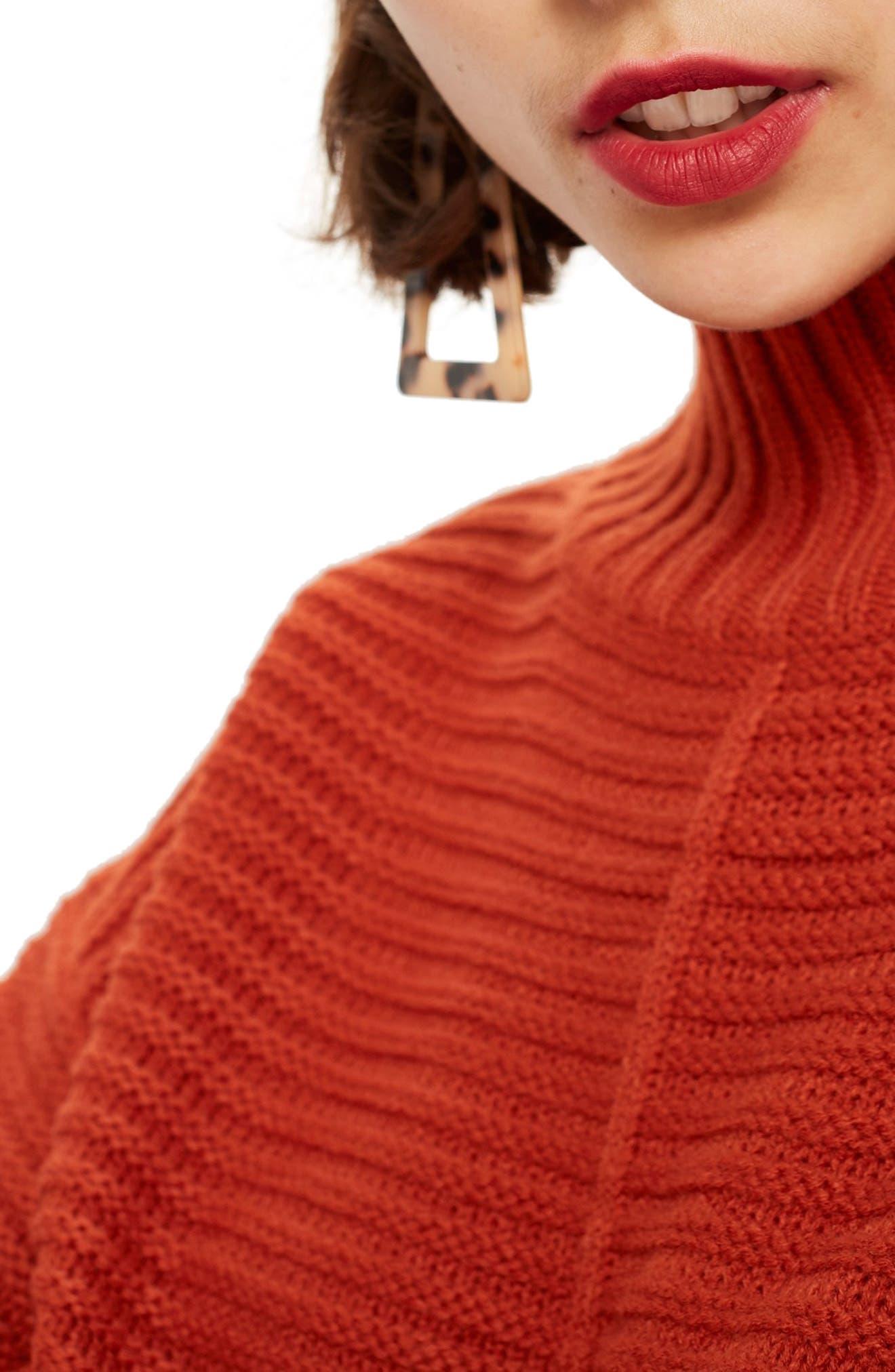 TOPSHOP, Mock Neck Sweater, Alternate thumbnail 4, color, RUST