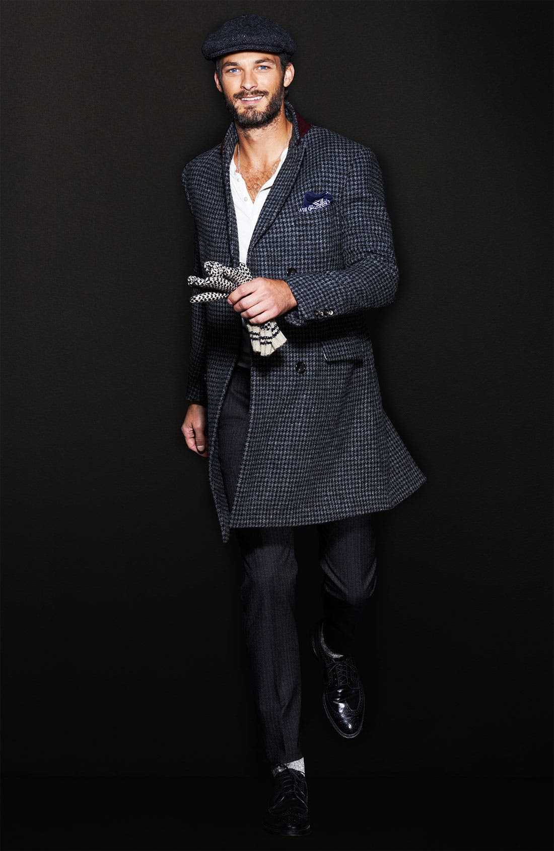 MICHAEL BASTIAN, Double Breasted Houndstooth Topcoat, Alternate thumbnail 5, color, 028