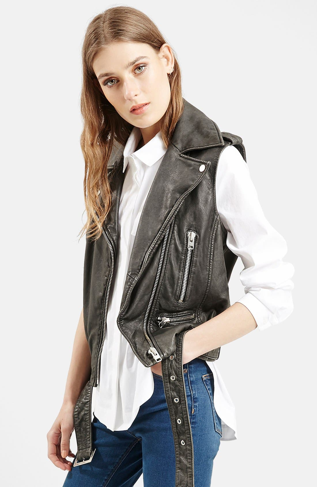 TOPSHOP, 'Sylvia' Leather Biker Vest, Main thumbnail 1, color, 001
