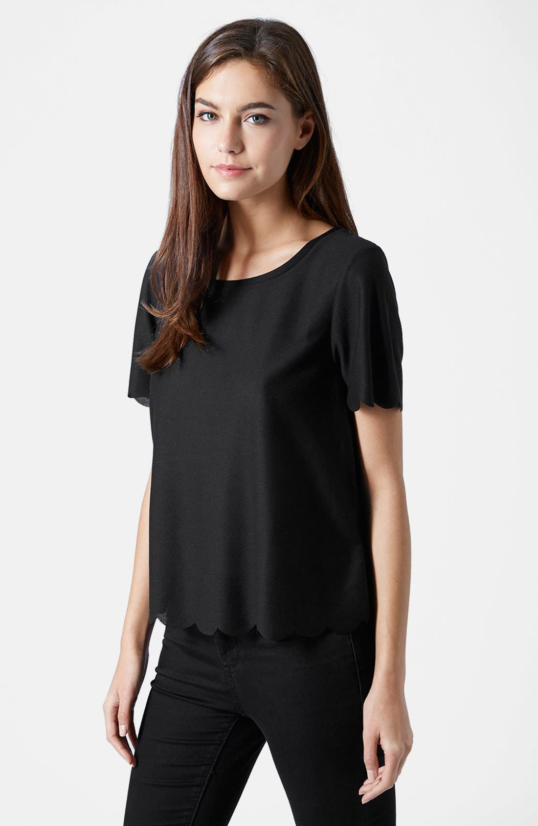 TOPSHOP, Scallop Frill Tee, Main thumbnail 1, color, 001