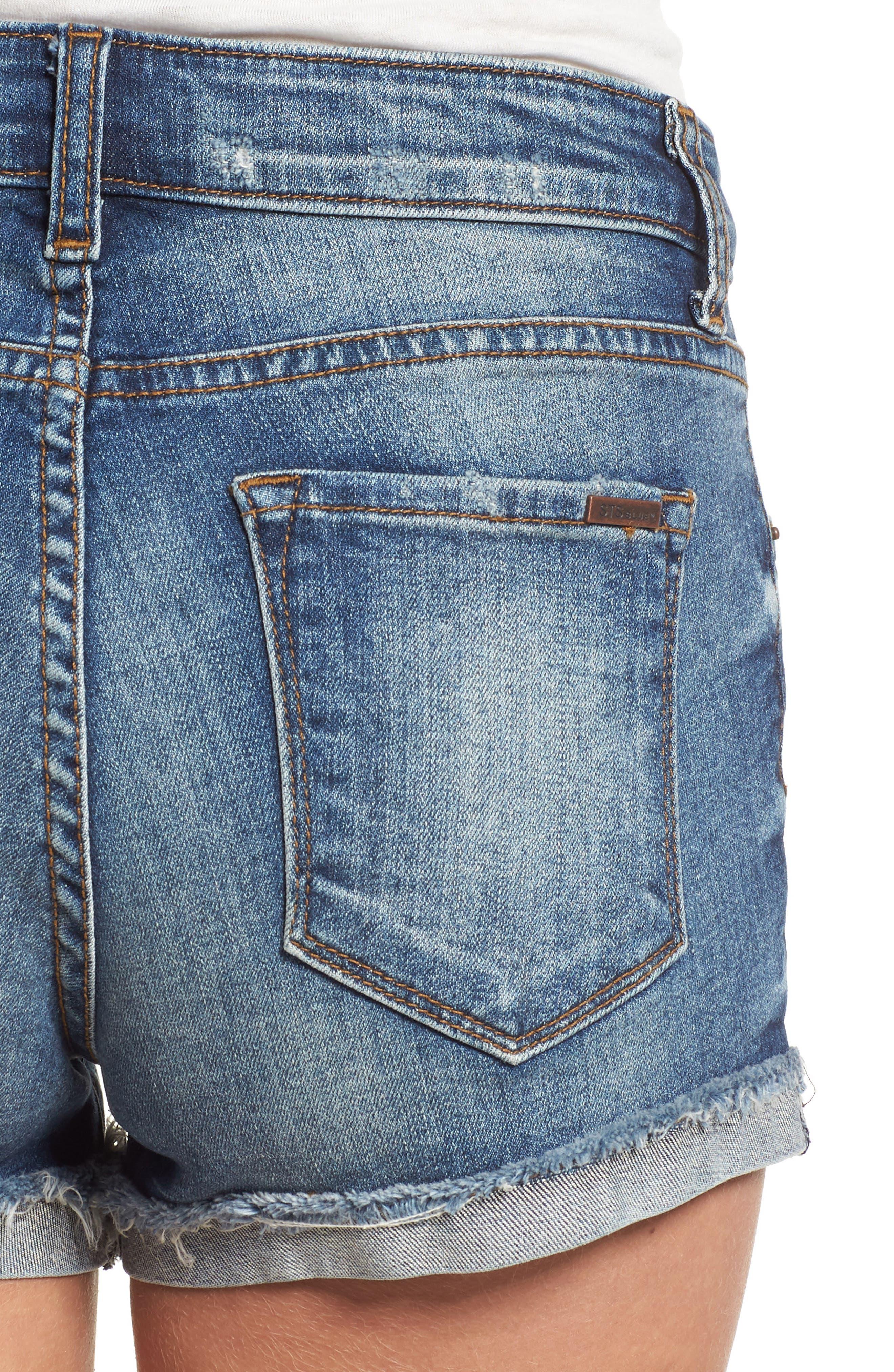 STS BLUE, Boyfriend Denim Shorts, Alternate thumbnail 5, color, 400