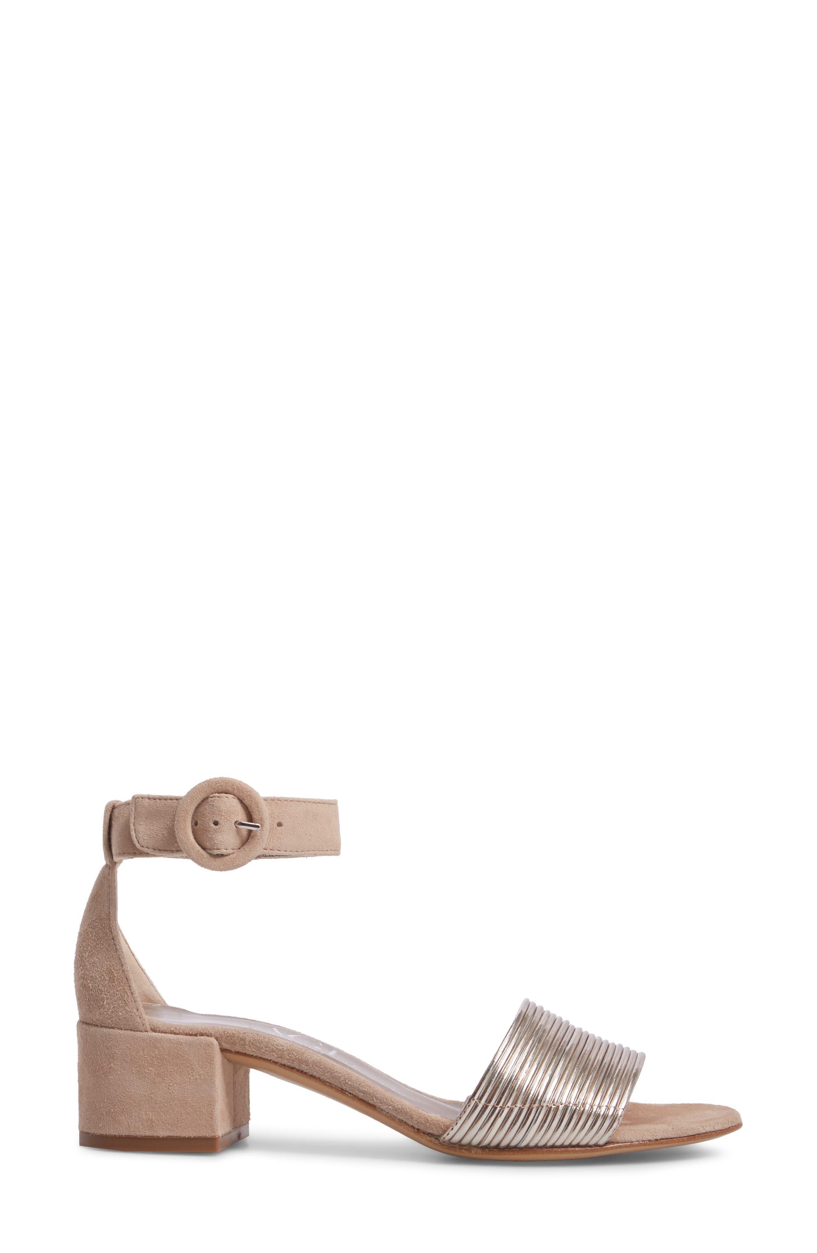 AGL, Ankle Strap Sandal, Alternate thumbnail 3, color, PLATINUM SUEDE