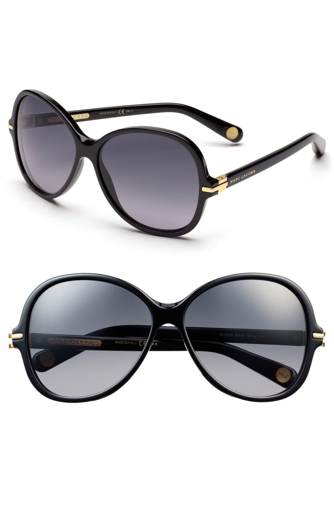 MARC JACOBS 60mm Sunglasses, Main, color, 001