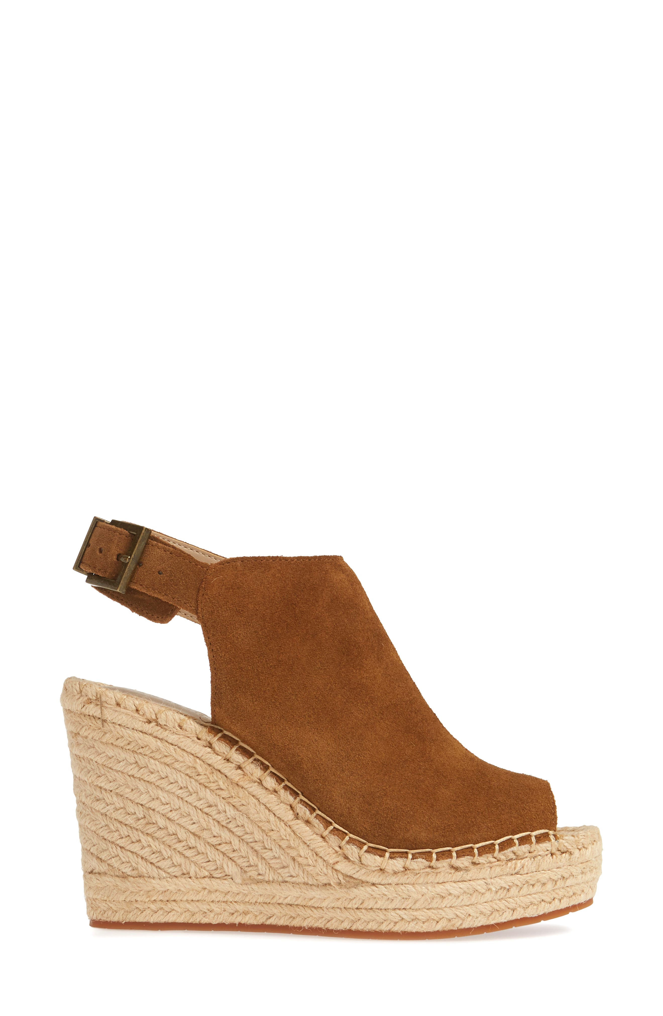 KENNETH COLE NEW YORK, 'Olivia' Espadrille Wedge Sandal, Alternate thumbnail 3, color, RUST SUEDE