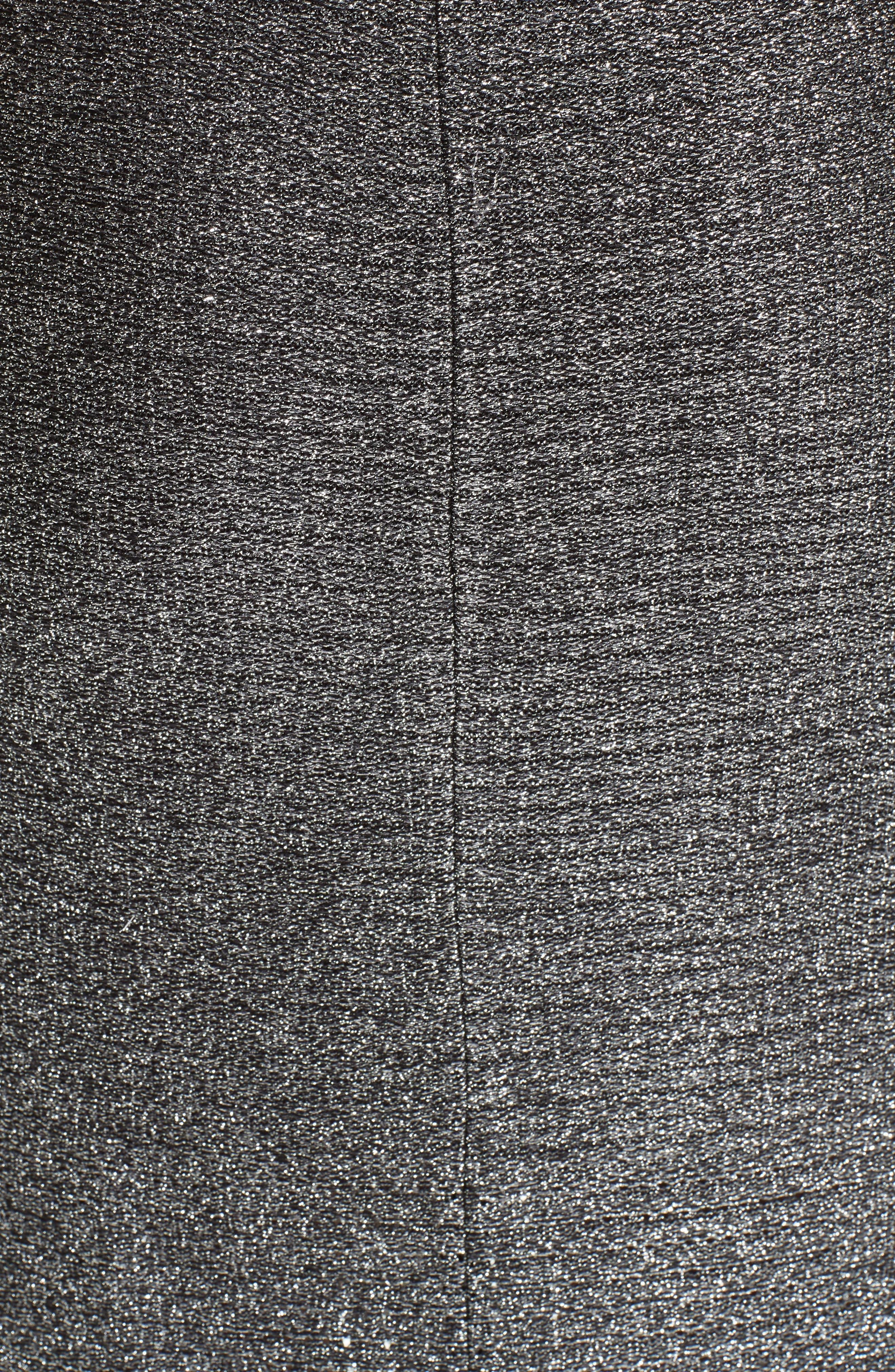ST. JOHN COLLECTION, Metallic Plaited Mixed Knit Dress, Alternate thumbnail 6, color, GUNMETAL/ CAVIAR