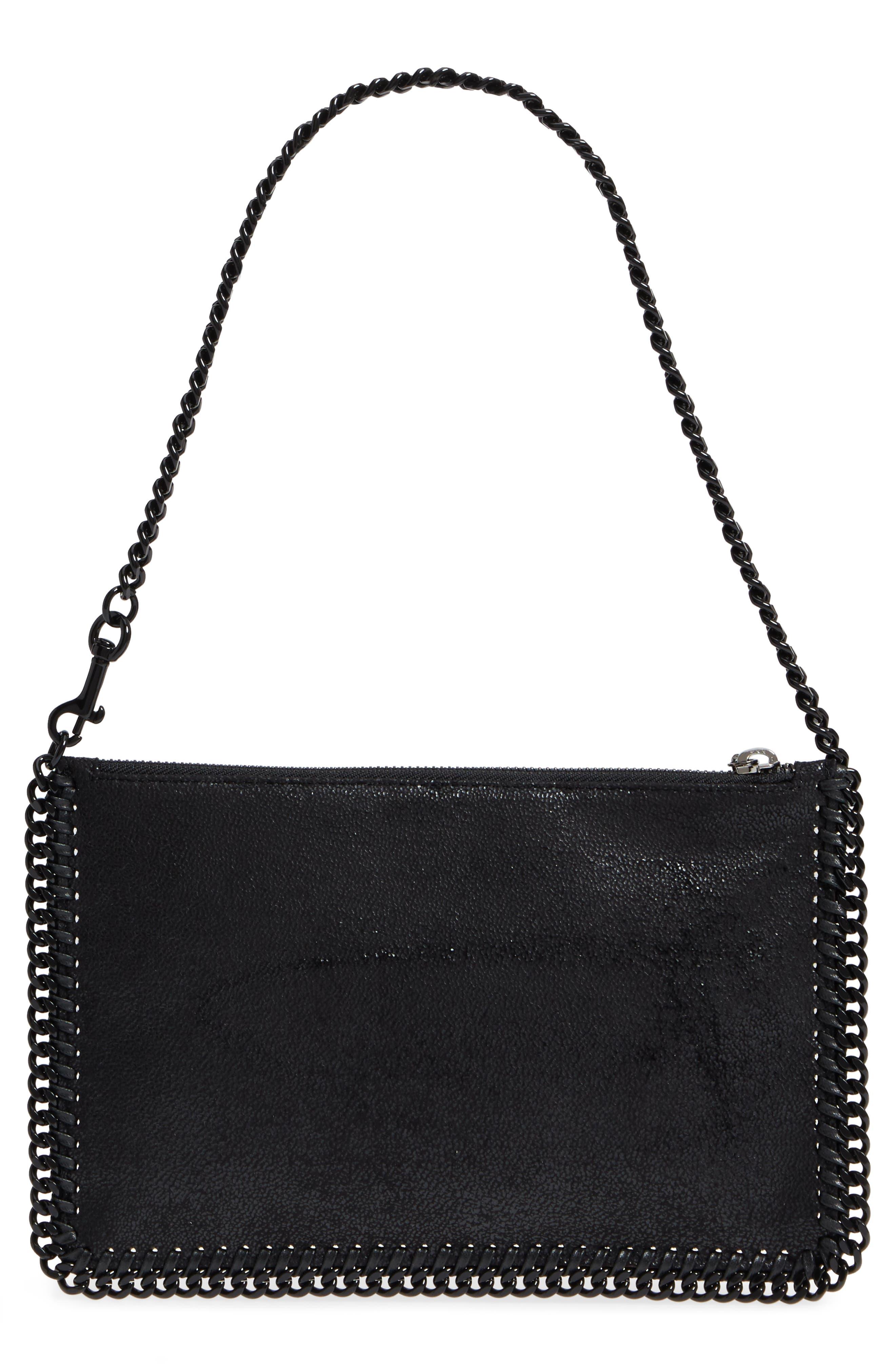 STELLA MCCARTNEY, Falabella Shaggy Deer Faux Leather Handbag, Alternate thumbnail 3, color, 001