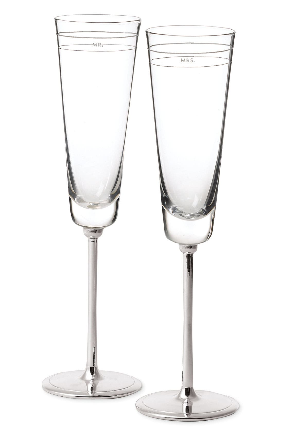 KATE SPADE NEW YORK, 'darling point' champagne flutes, Alternate thumbnail 2, color, NO COLOR