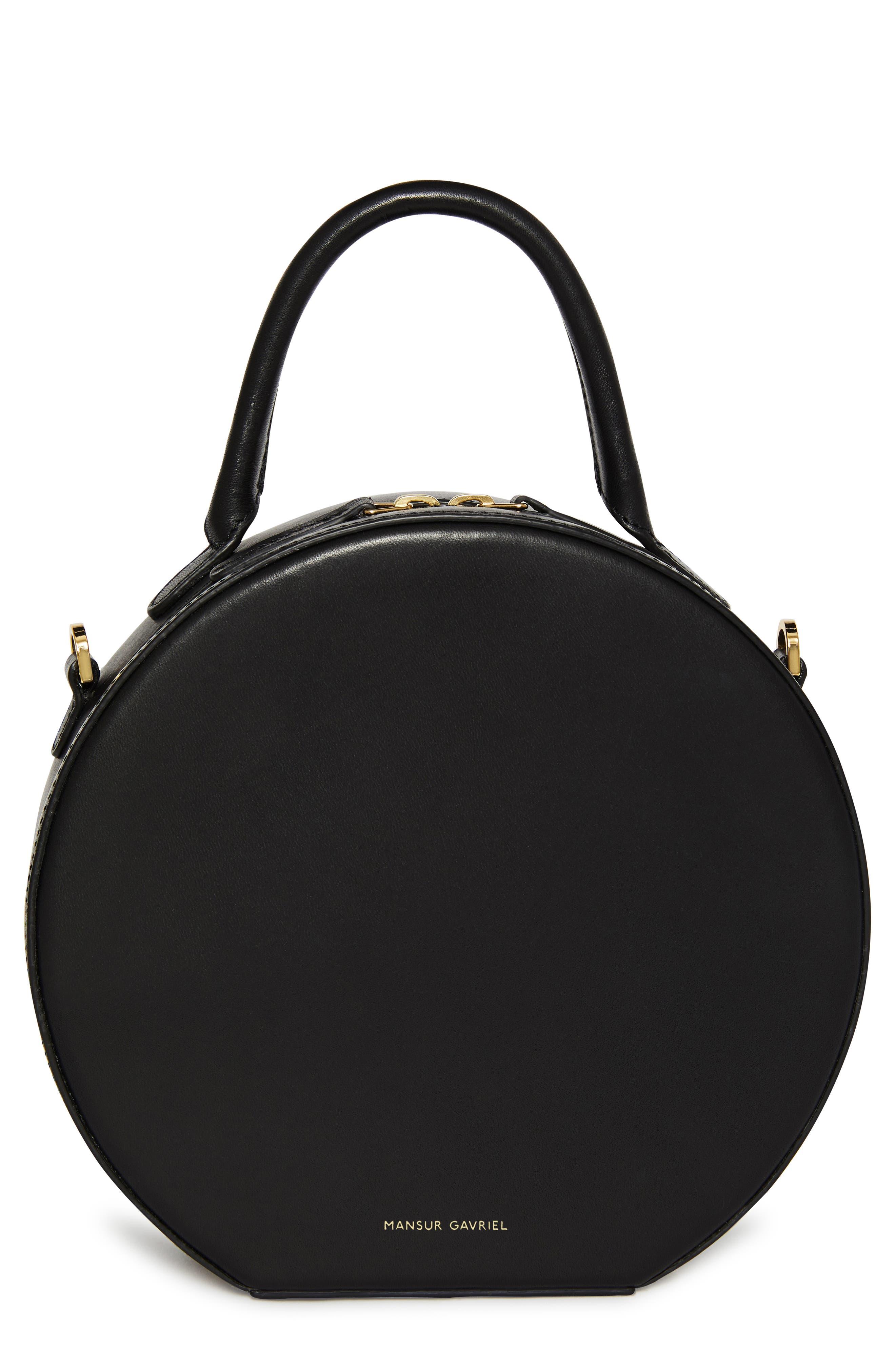 MANSUR GAVRIEL, Leather Circle Crossbody Bag, Main thumbnail 1, color, BLACK