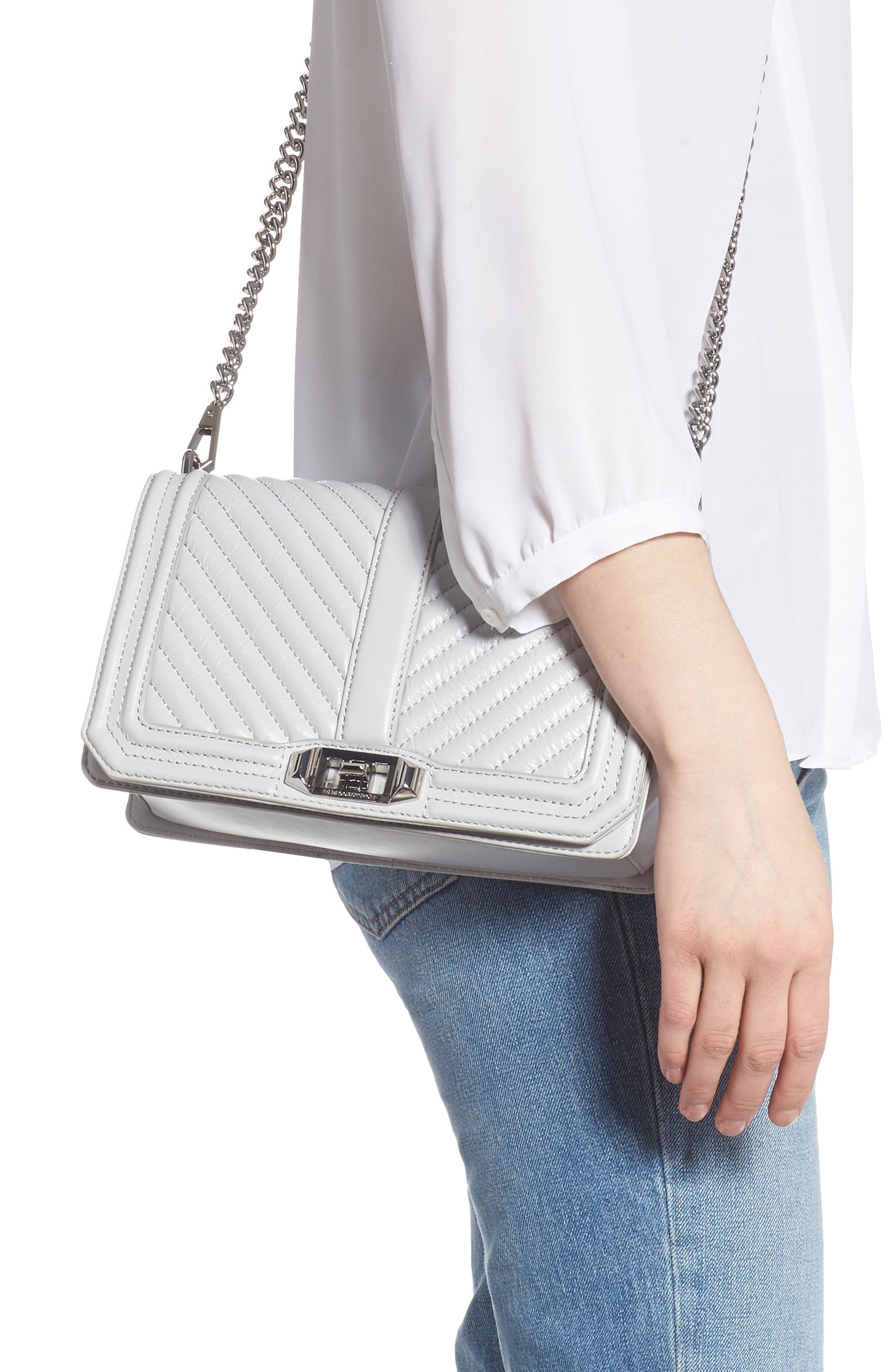 REBECCA MINKOFF, 'Chevron Quilted Love' Crossbody Bag, Alternate thumbnail 2, color, ICE GREY