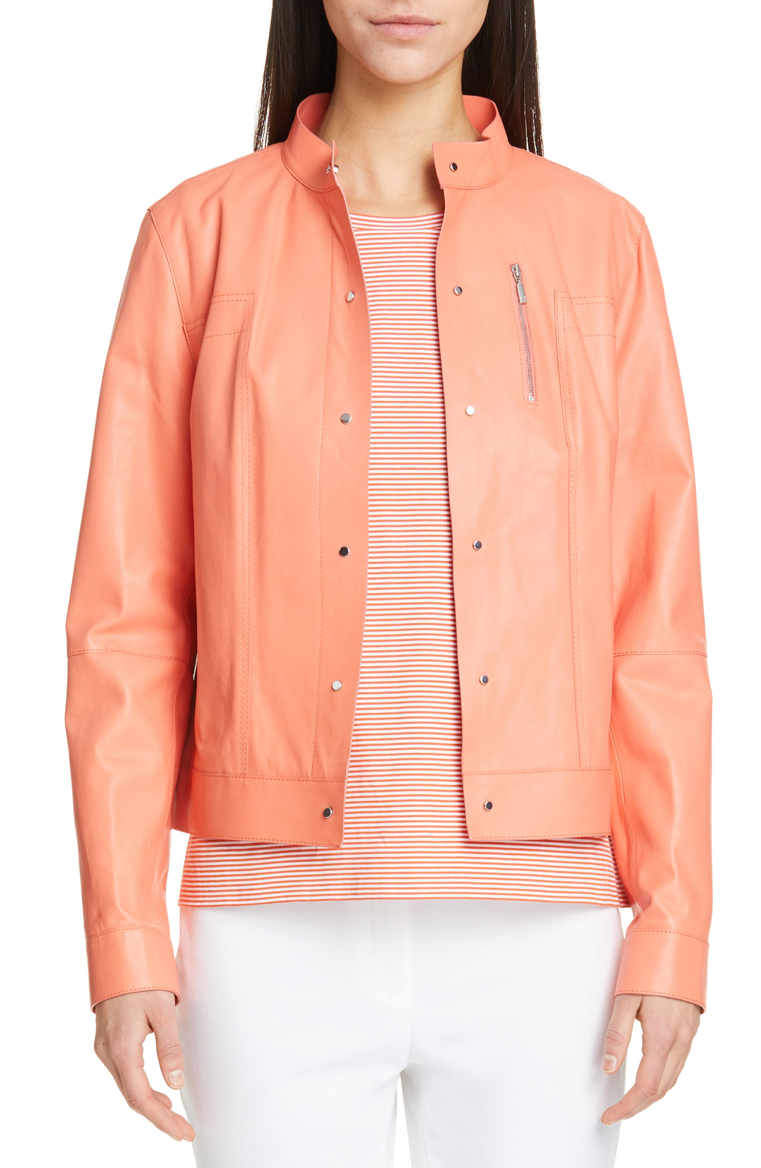 LAFAYETTE 148 NEW YORK, Galicia Leather Jacket, Main thumbnail 1, color, PEACH ROSE