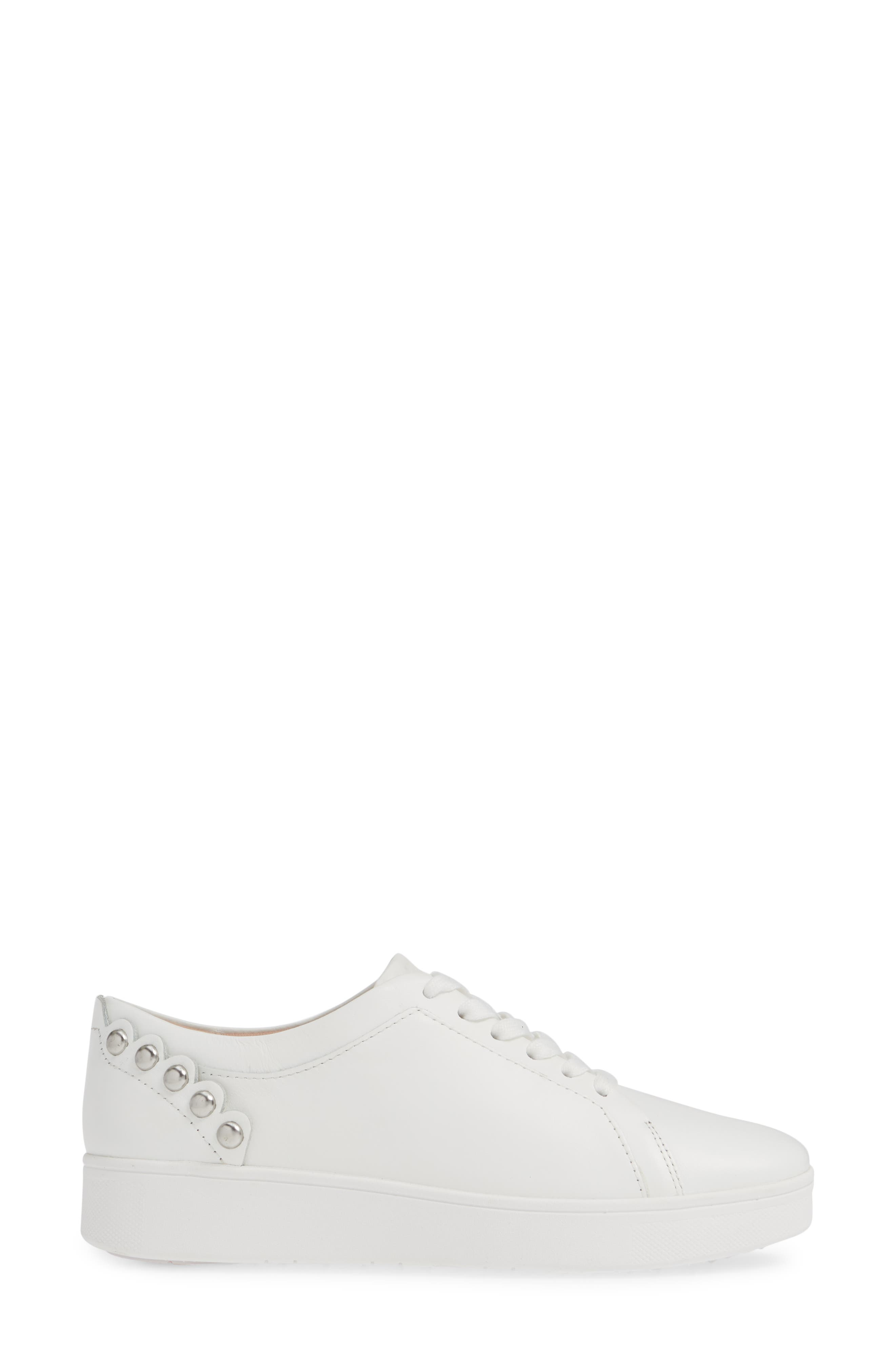 FITFLOP, Rally Studded Sneaker, Alternate thumbnail 3, color, URBAN WHITE LEATHER