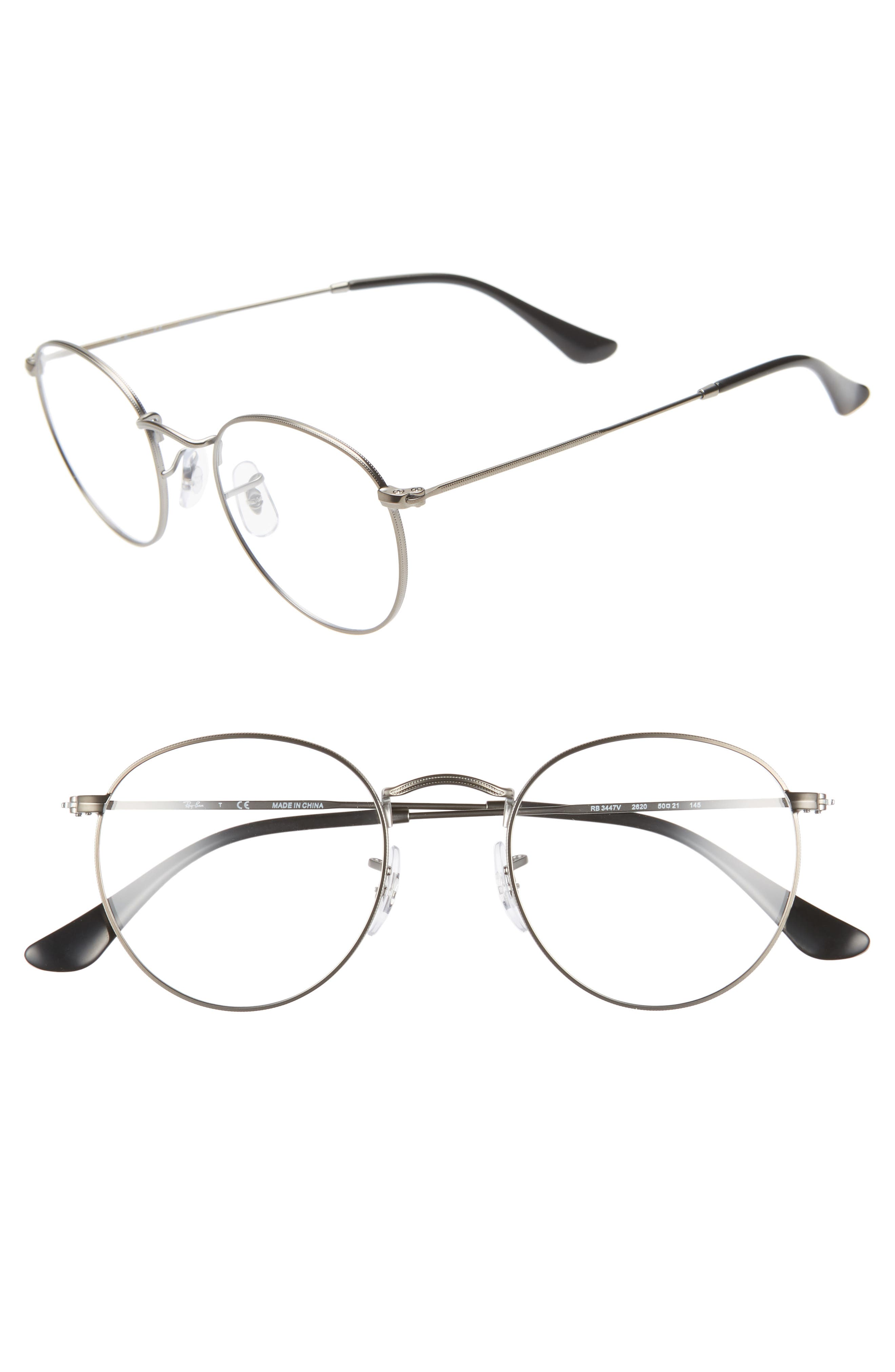 RAY-BAN, 50mm Round Optical Glasses, Main thumbnail 1, color, MATTE GUNMETAL