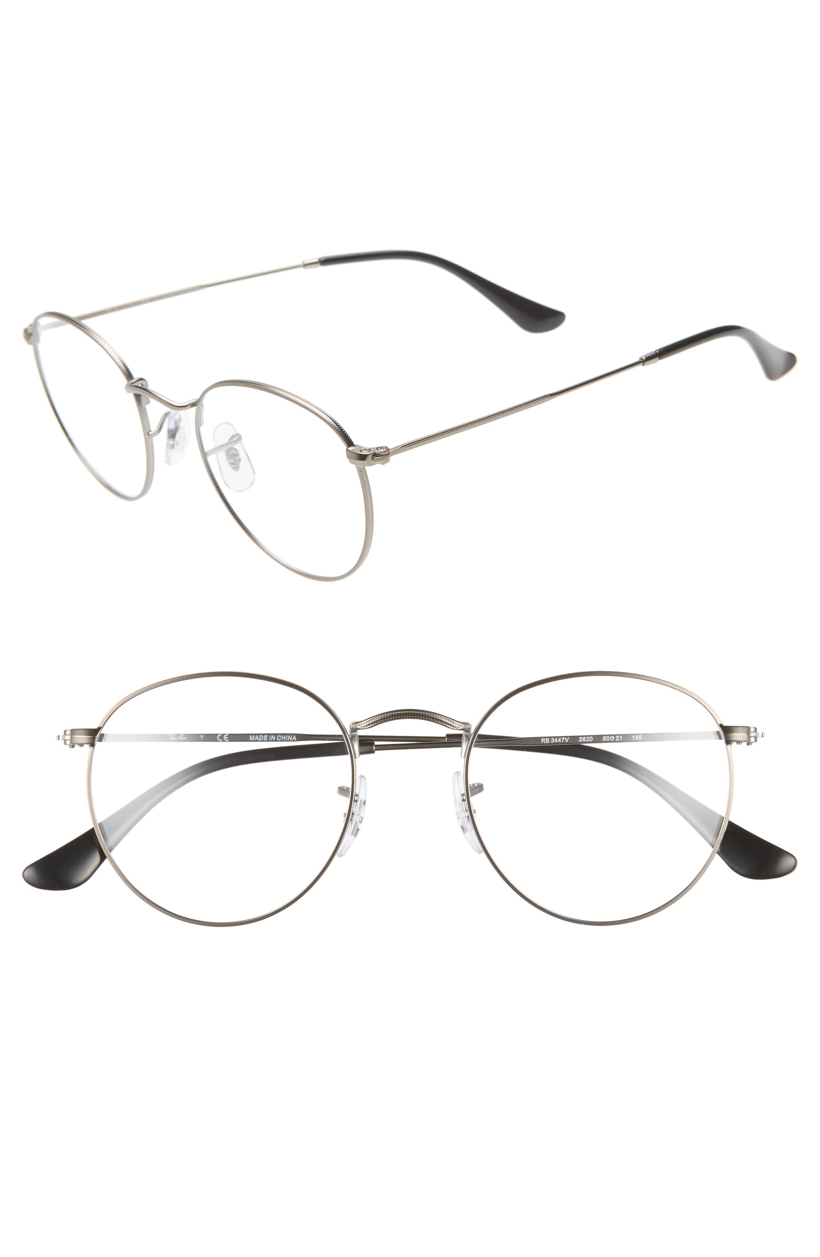RAY-BAN 50mm Round Optical Glasses, Main, color, MATTE GUNMETAL