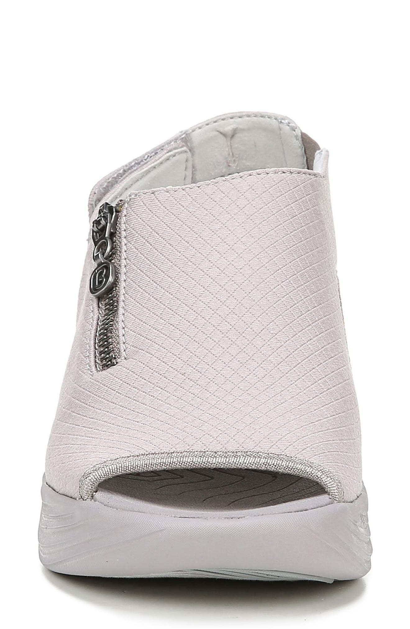BZEES, Zipline Wedge Sandal, Alternate thumbnail 4, color, OPAL GRAY GRID FABRIC