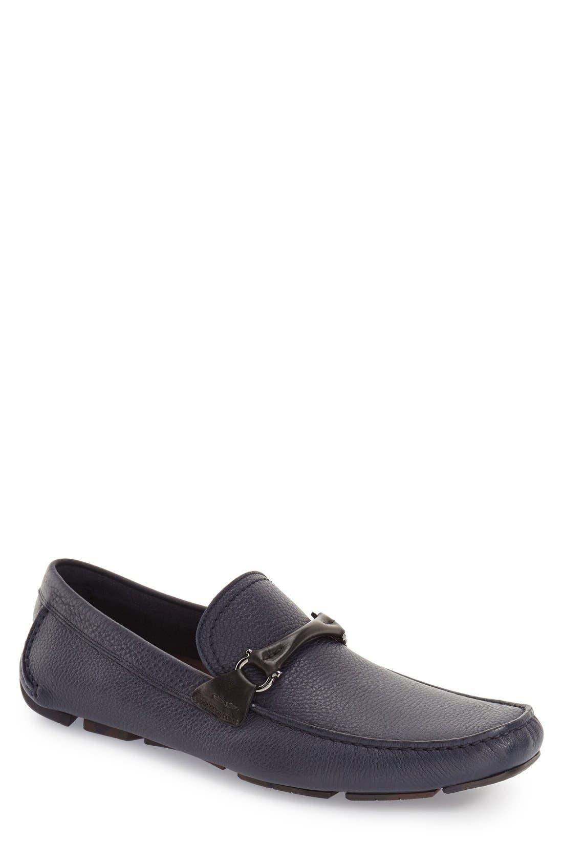SALVATORE FERRAGAMO GranprixDriving Shoe, Main, color, BLUE MARIN LEATHER