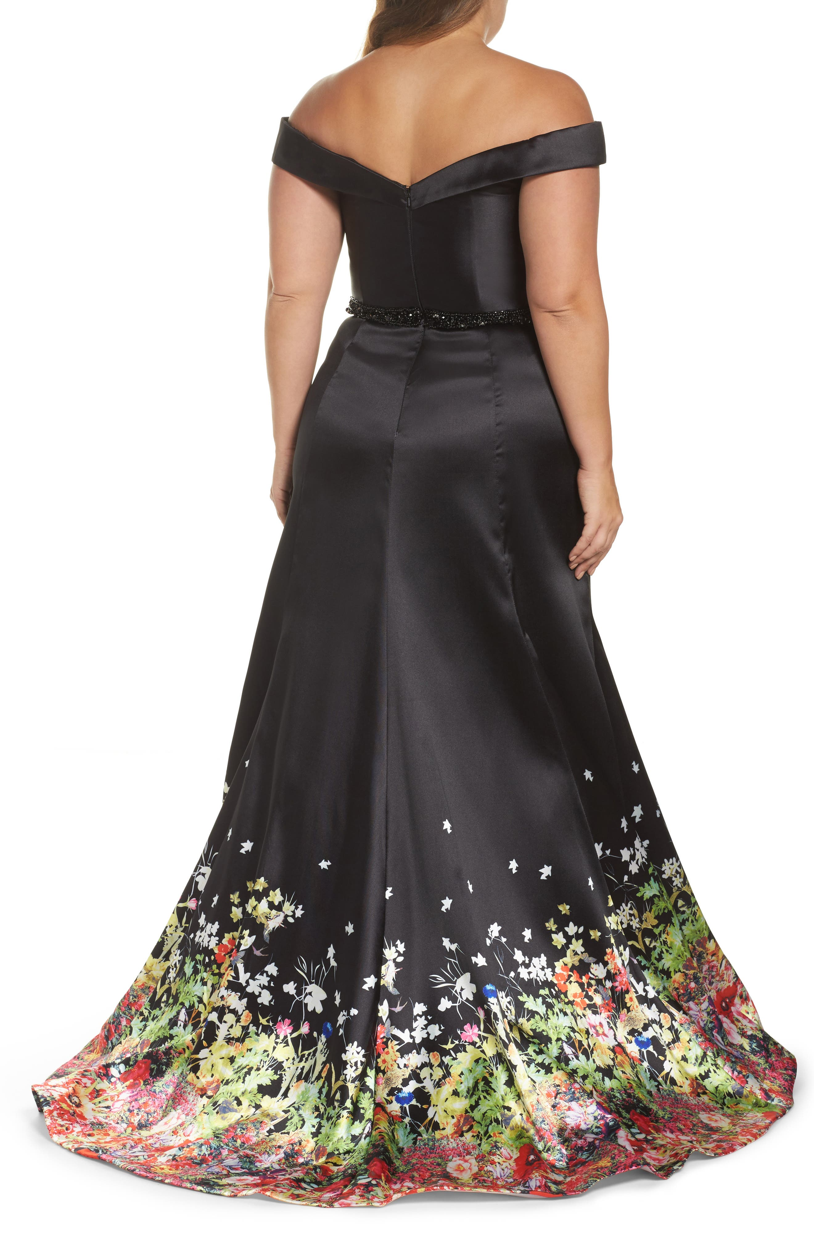 MAC DUGGAL, Beaded Waist Off the Shoulder Gown, Alternate thumbnail 2, color, BLACK/ MULTI