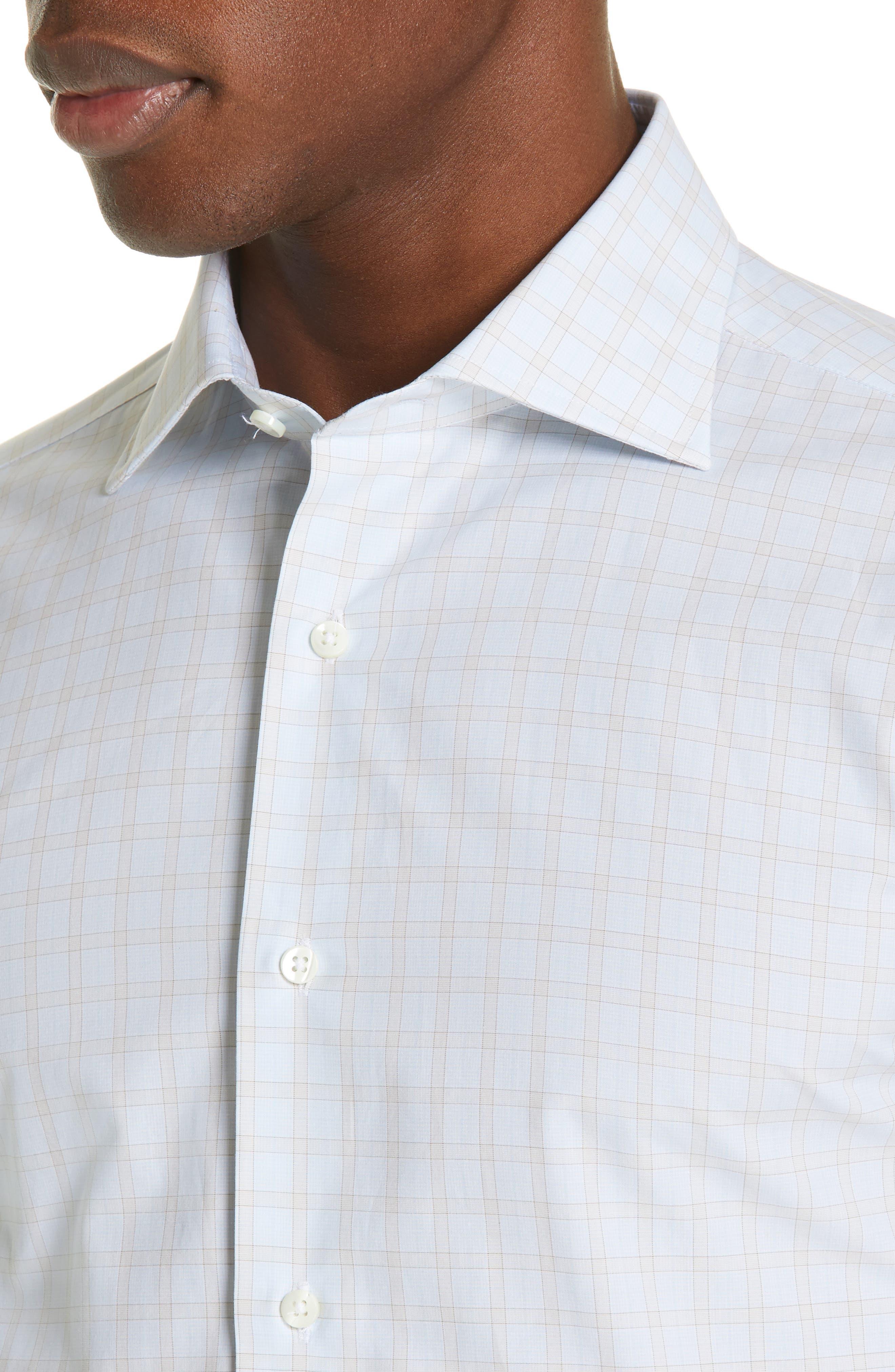 CANALI, Regular Fit Plaid Dress Shirt, Alternate thumbnail 2, color, BEIGE
