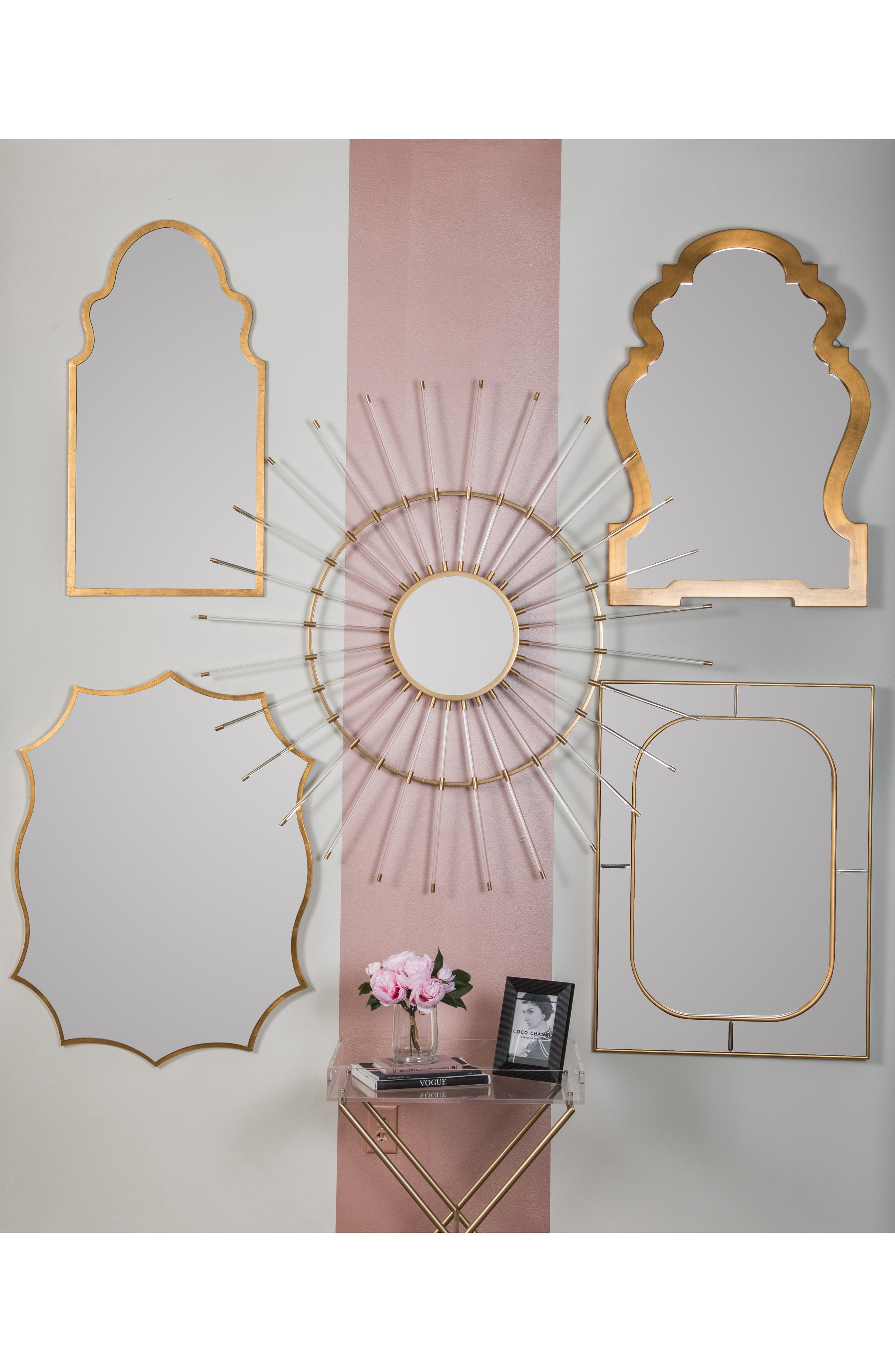 GEORGE AND CO, Scalloped Wall Mirror, Alternate thumbnail 2, color, METALLIC GOLD