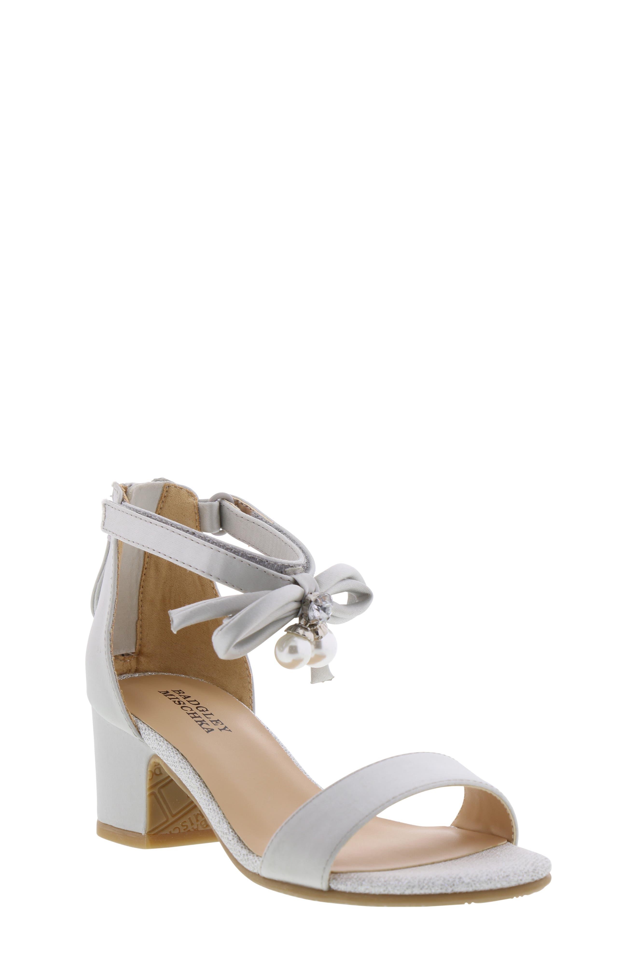 BADGLEY MISCHKA COLLECTION, Badgley Mischka Pernia Embellished Bow Sandal, Main thumbnail 1, color, SILVER