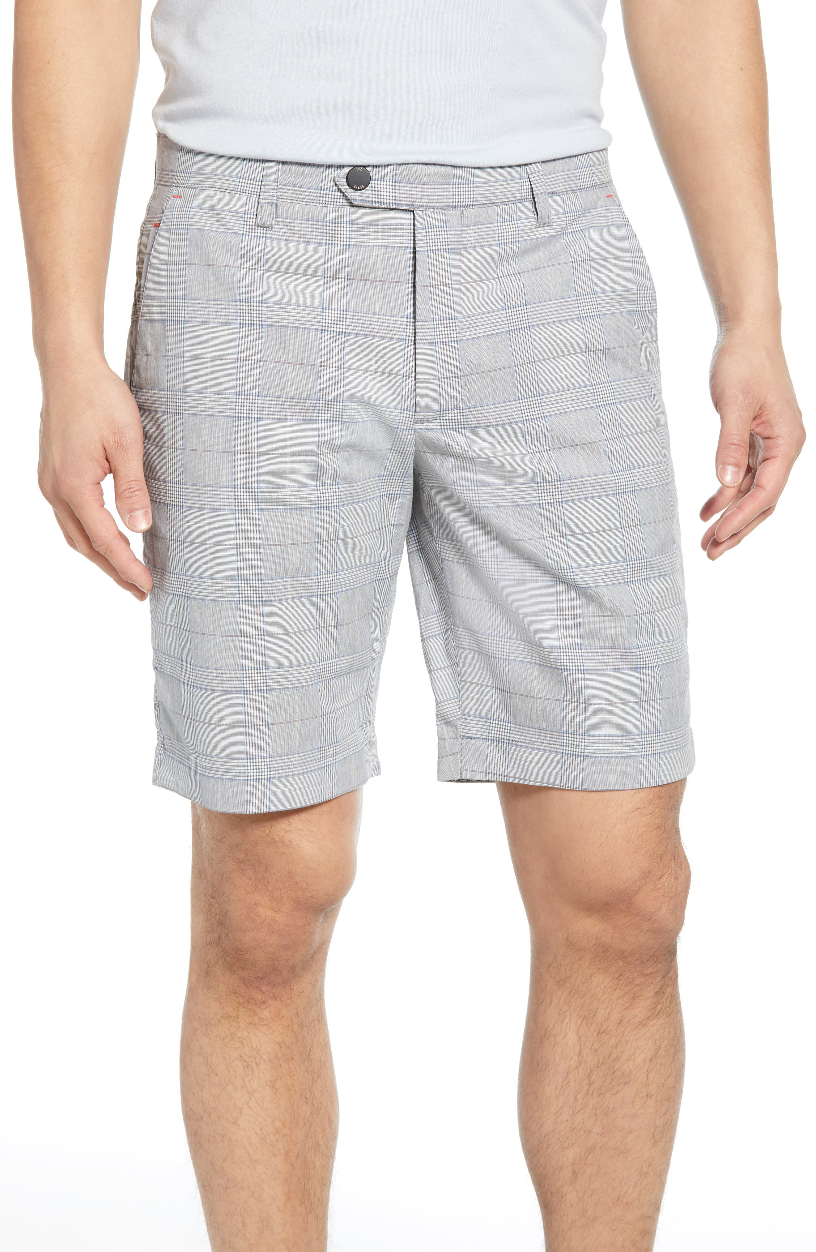 TED BAKER LONDON, Easiee Slim Fit Check Golf Shorts, Main thumbnail 1, color, GREY