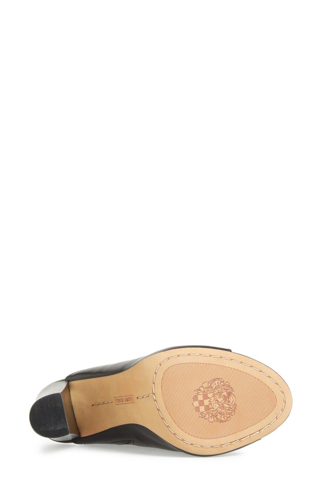 VINCE CAMUTO, 'Vestata' Leather Peep Toe Mule, Alternate thumbnail 5, color, 001