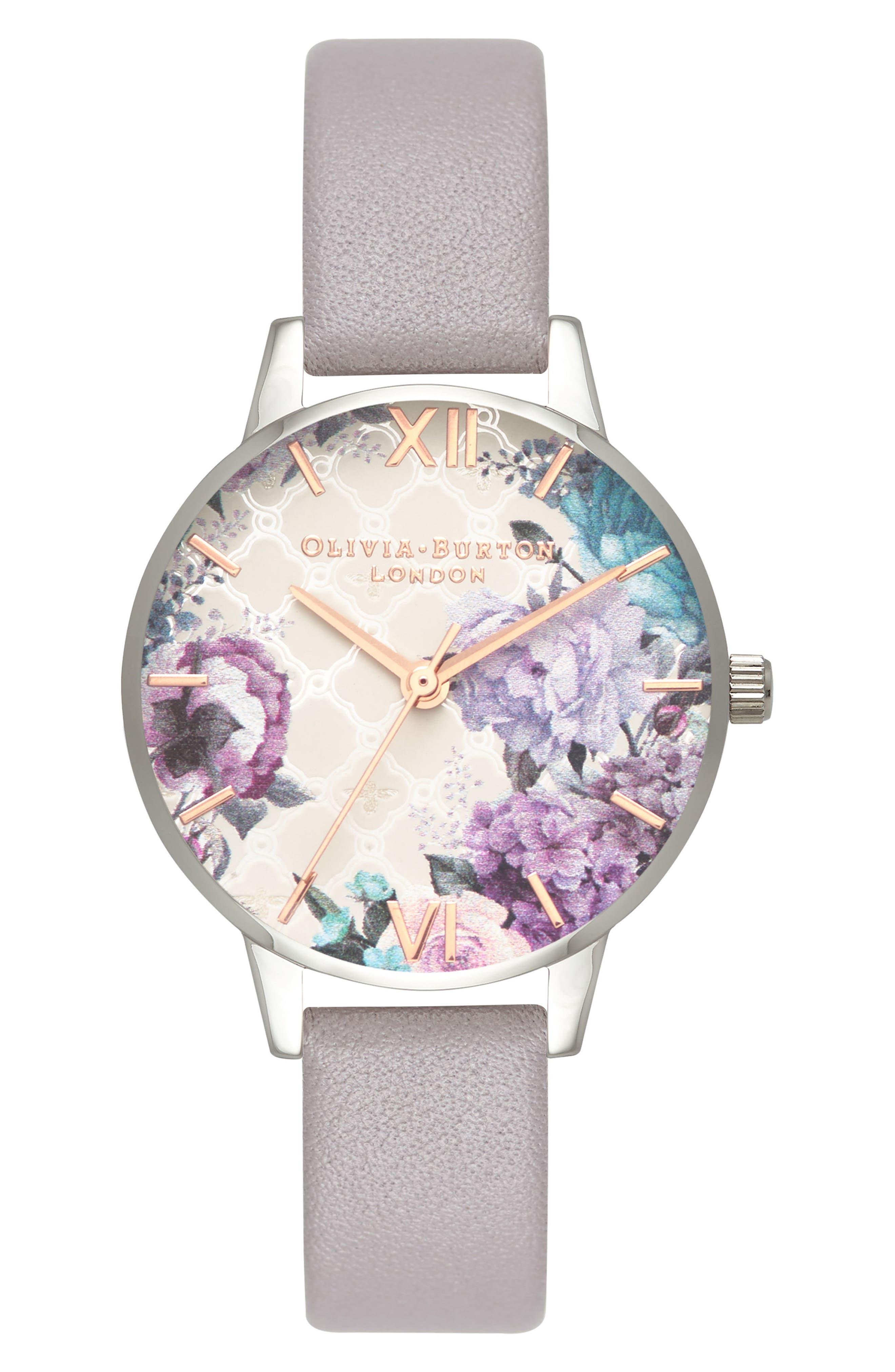 OLIVIA BURTON Glasshouse Leather Strap Watch, 30mm, Main, color, 028
