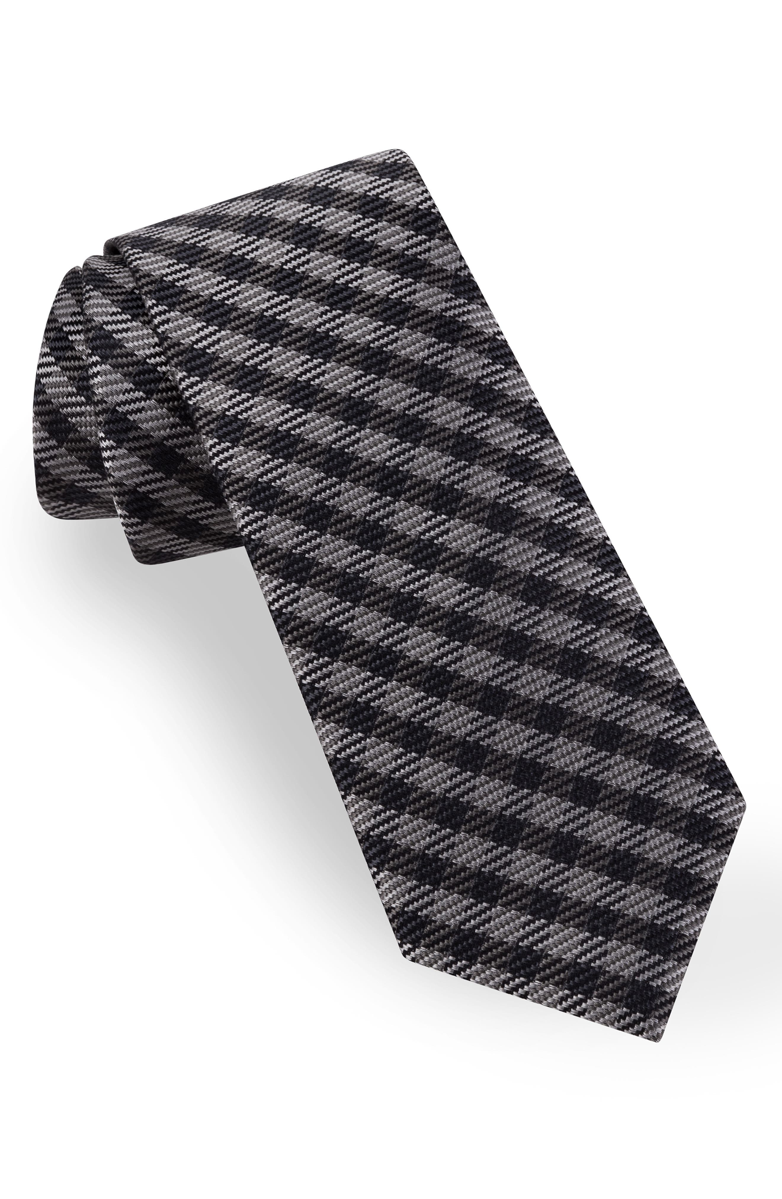 TED BAKER LONDON Check Silk Tie, Main, color, GRAY