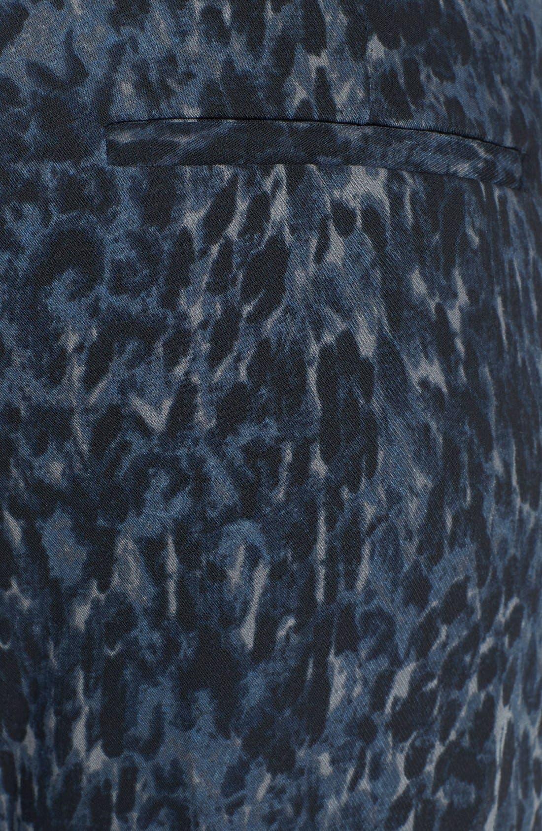 TROUVÉ, Faux Leather Trim Print Pants, Alternate thumbnail 3, color, 420