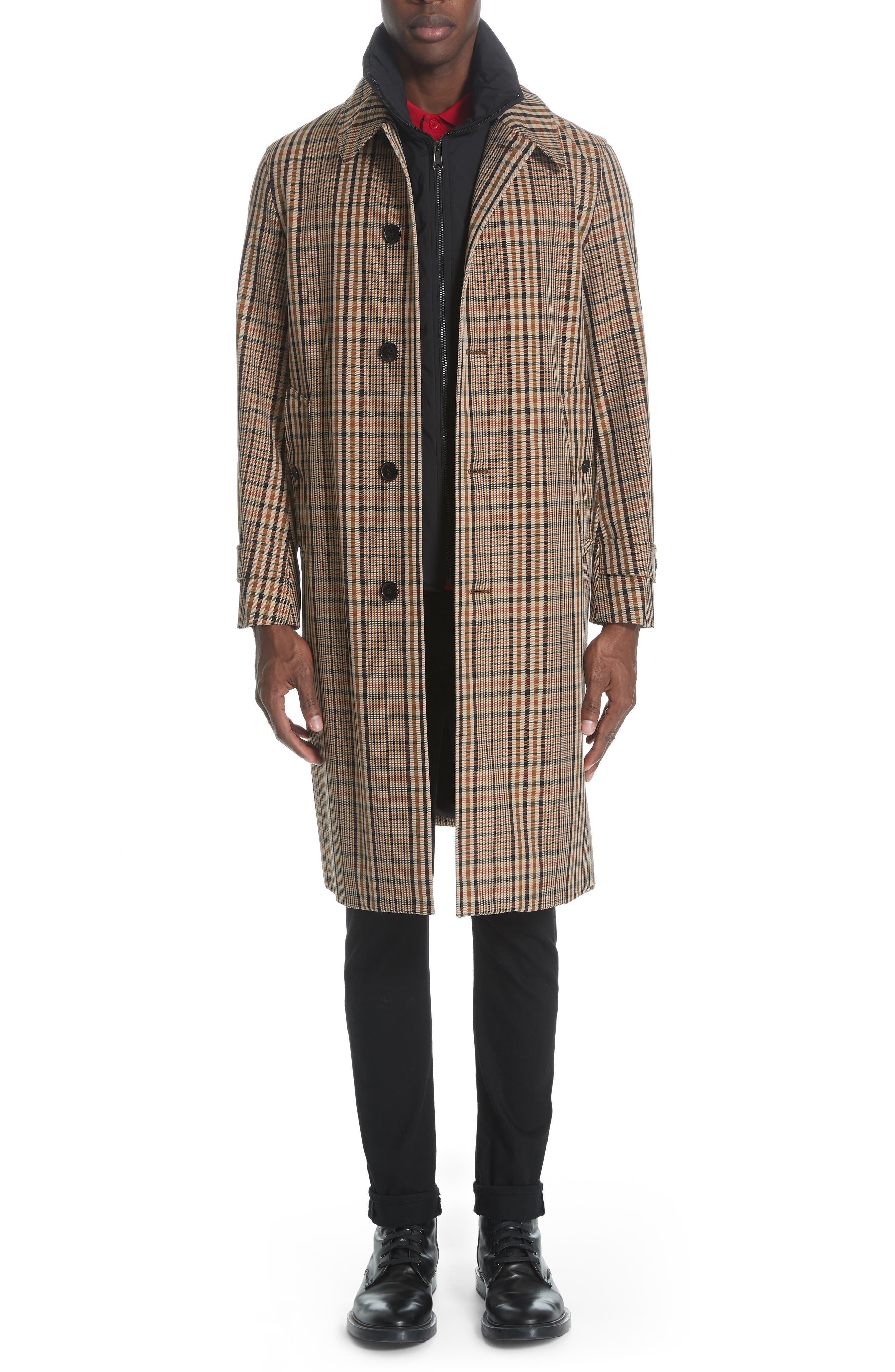BURBERRY, Lenthorne Check Car Coat with Detachable Vest, Main thumbnail 1, color, DARK CAMEL