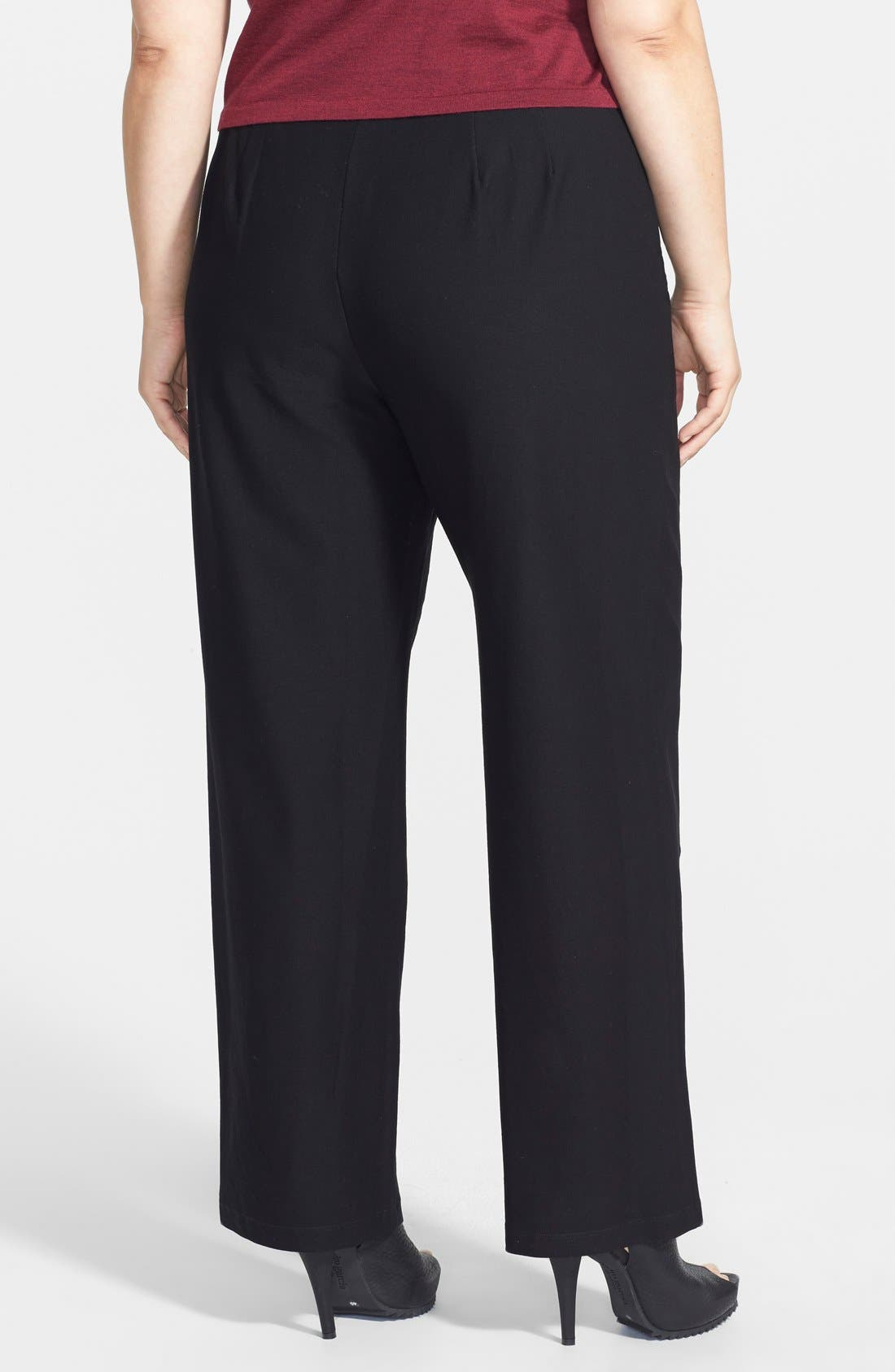 EILEEN FISHER, High Rise Straight Leg Crepe Pants, Alternate thumbnail 9, color, BLACK