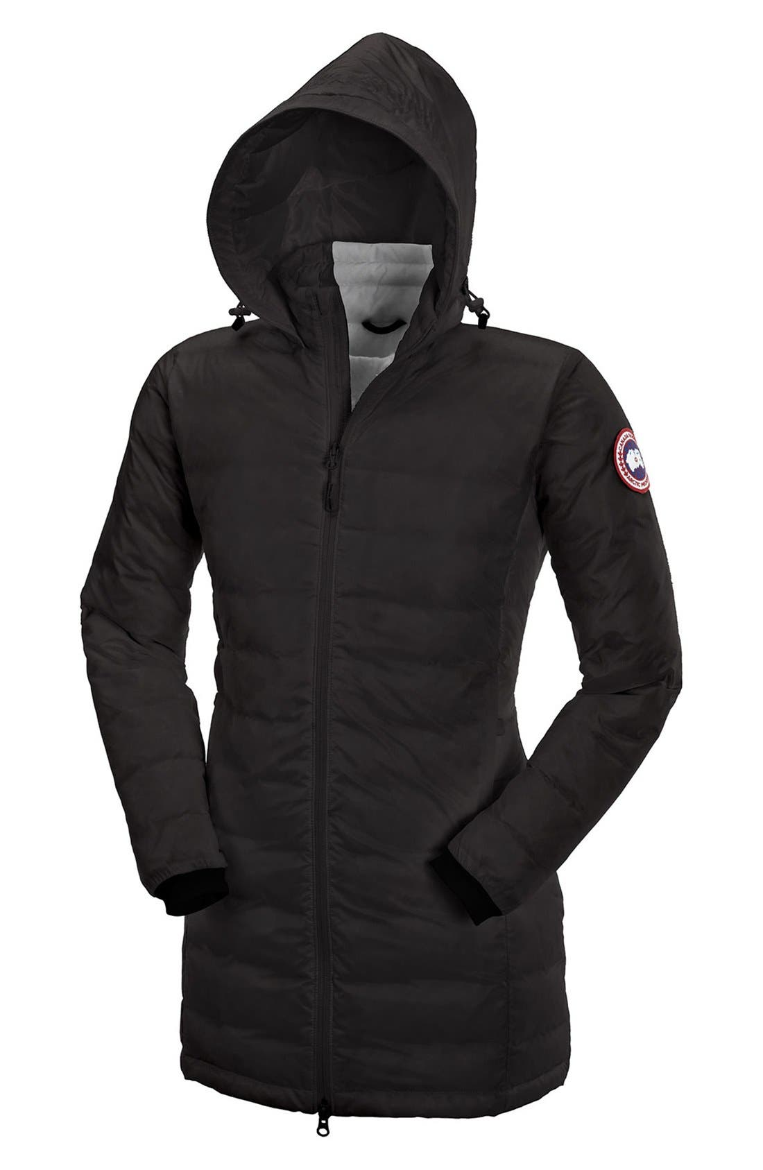 CANADA GOOSE, 'Camp' Slim Fit Hooded Packable Down Jacket, Alternate thumbnail 7, color, BLACK