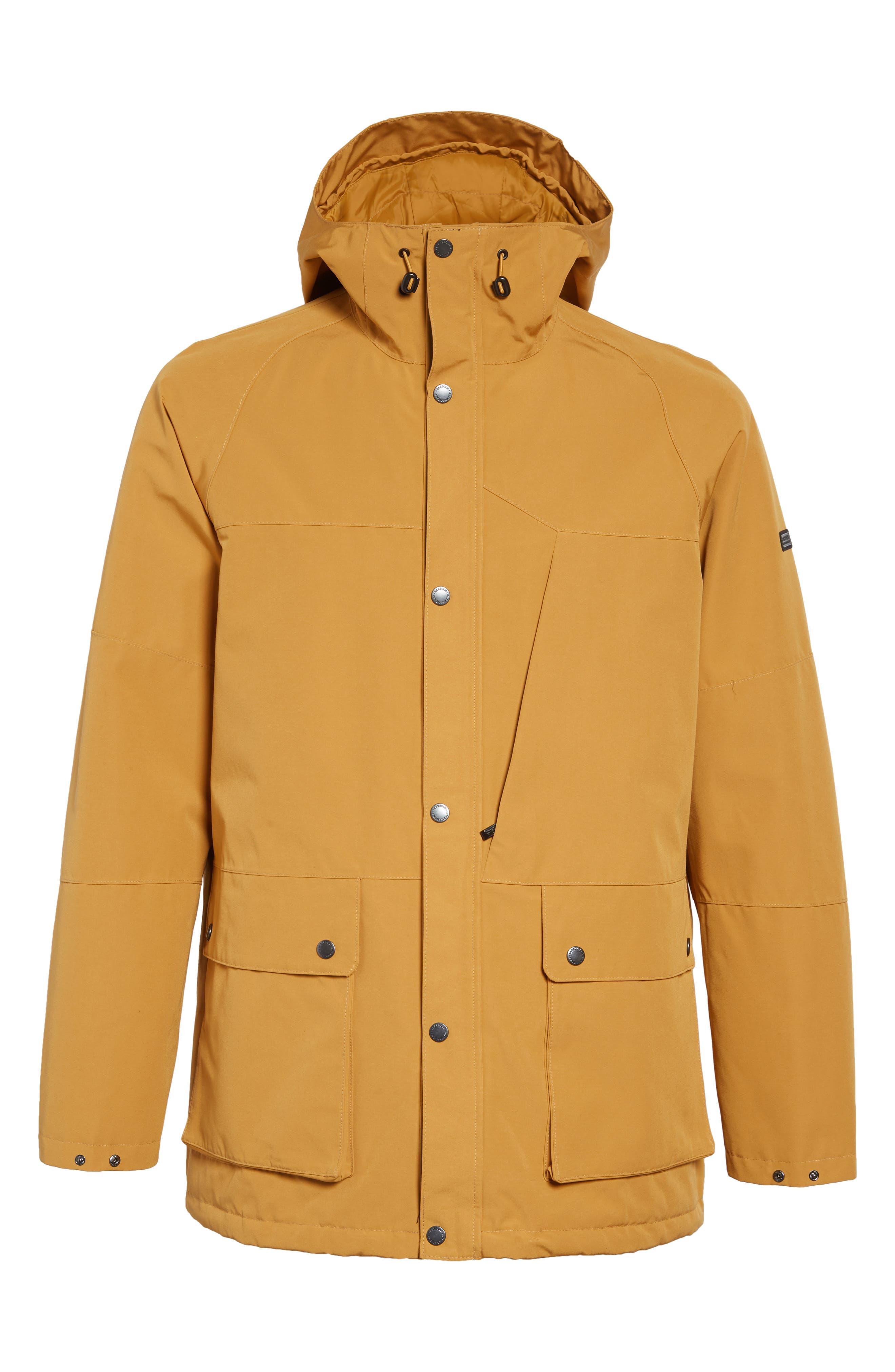 BARBOUR, Bi-Ridge Waterproof Hooded Jacket, Alternate thumbnail 5, color, YELLOW